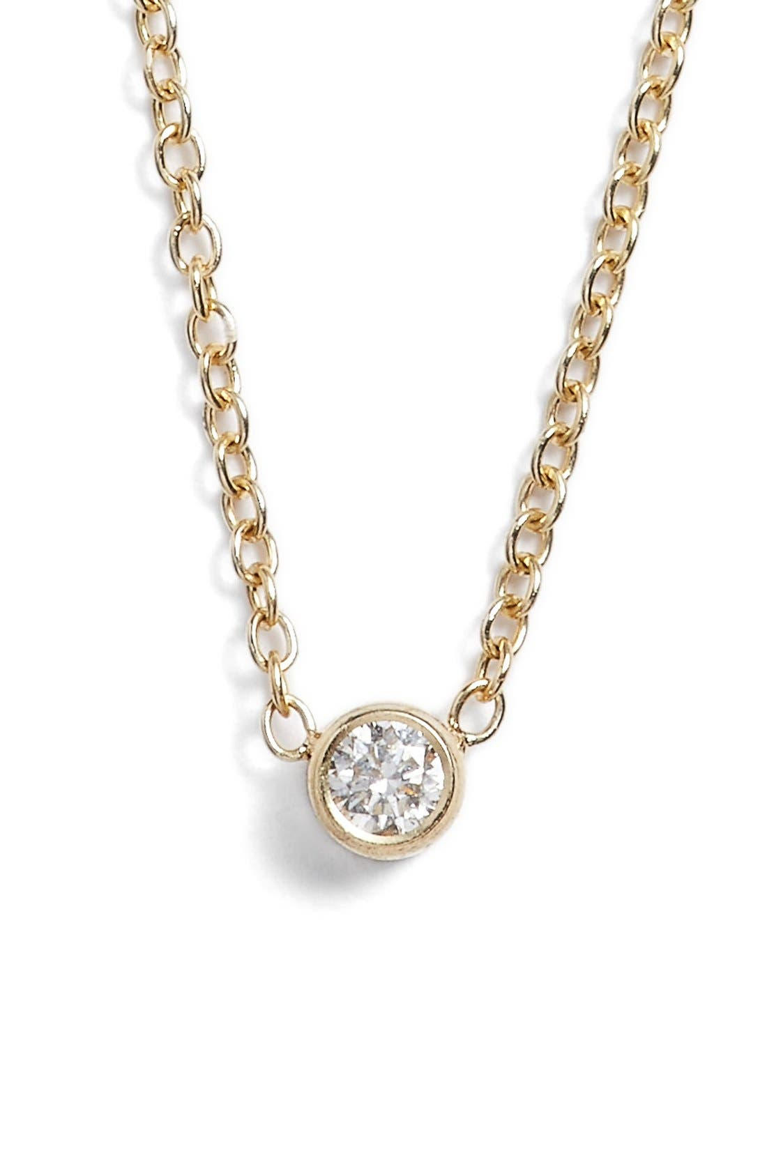 Diamond Bezel Pendant Necklace,                             Main thumbnail 1, color,                             Yellow Gold