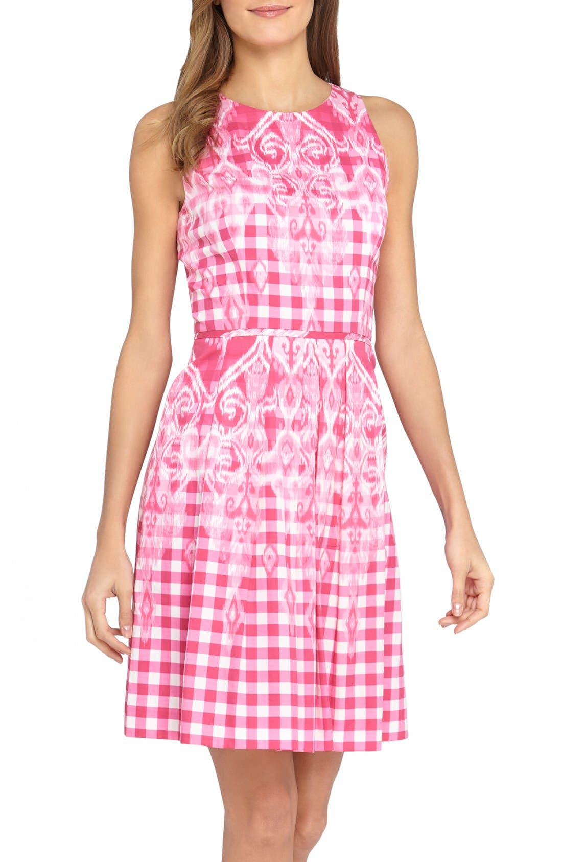 Alternate Image 1 Selected - Tahari Gingham Print Fit & Flare Dress (Regular & Petite)