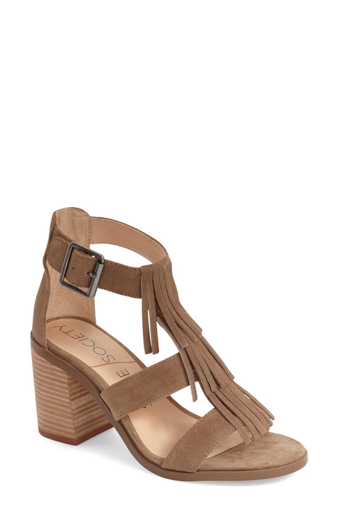 'Delilah' Fringe Sandal,                         Main,                         color, Taupe Suede