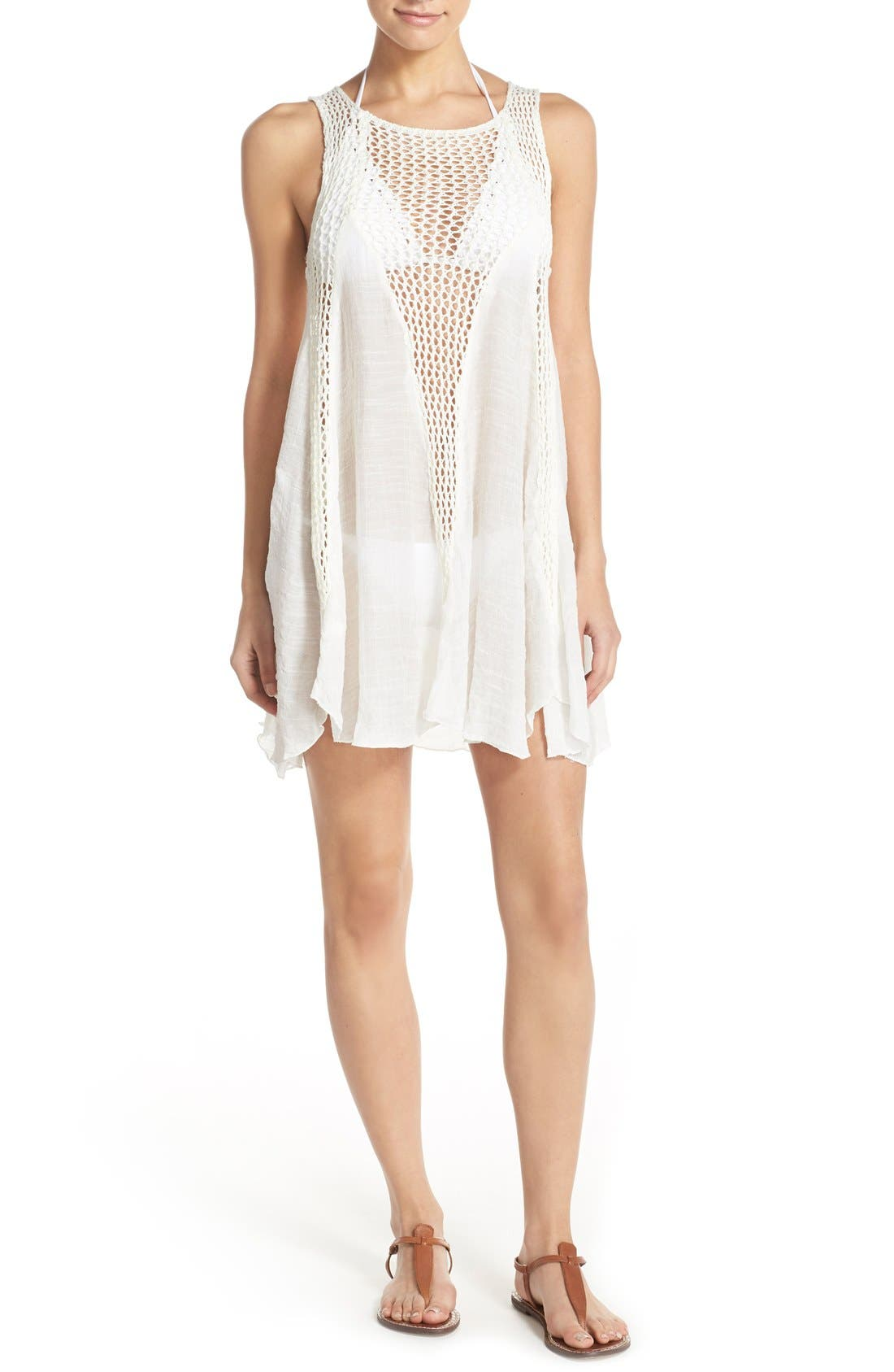 Crochet Inset Cover-Up Dress,                         Main,                         color, White