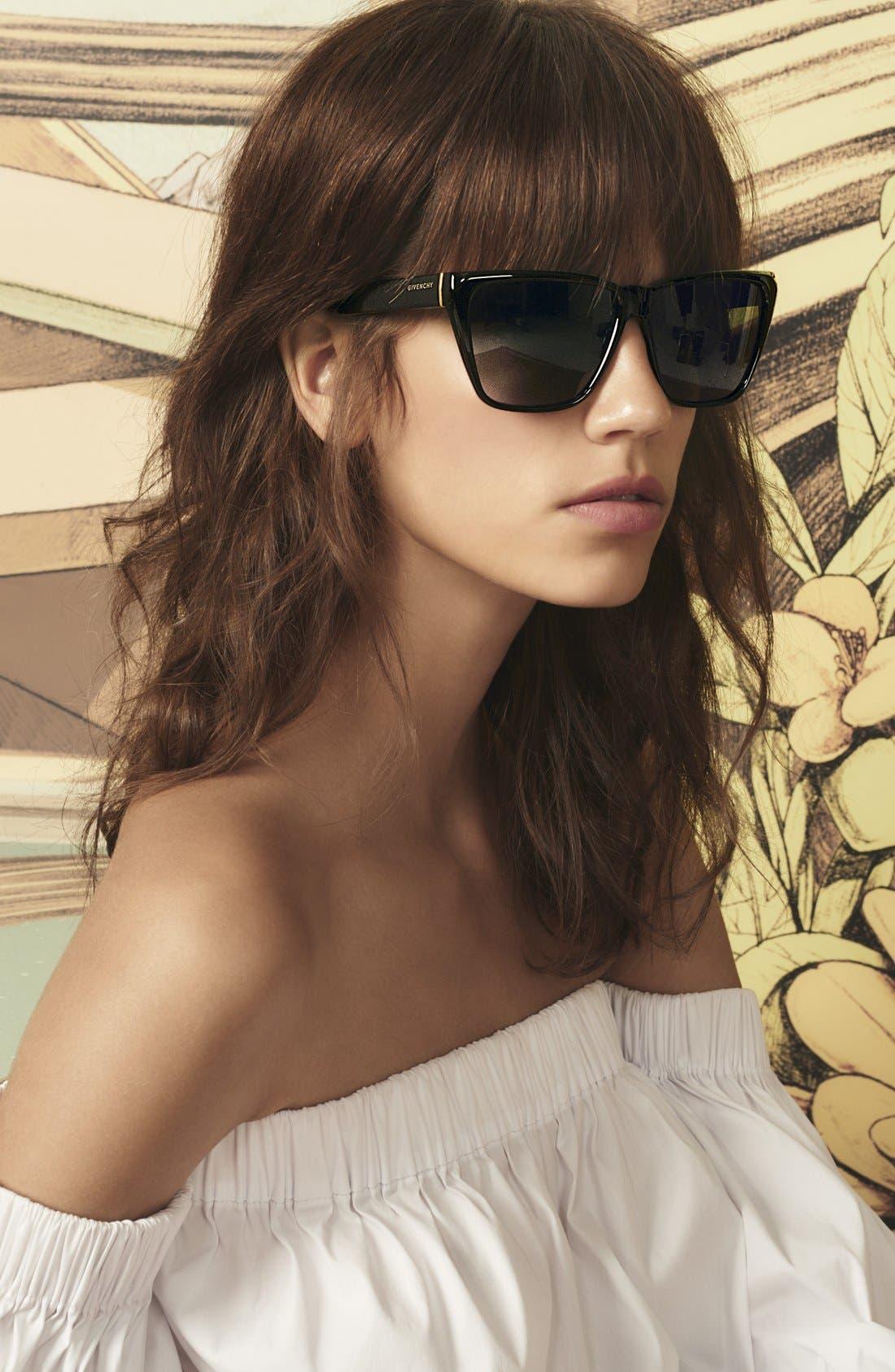 58mm Flat Top Sunglasses,                             Alternate thumbnail 4, color,
