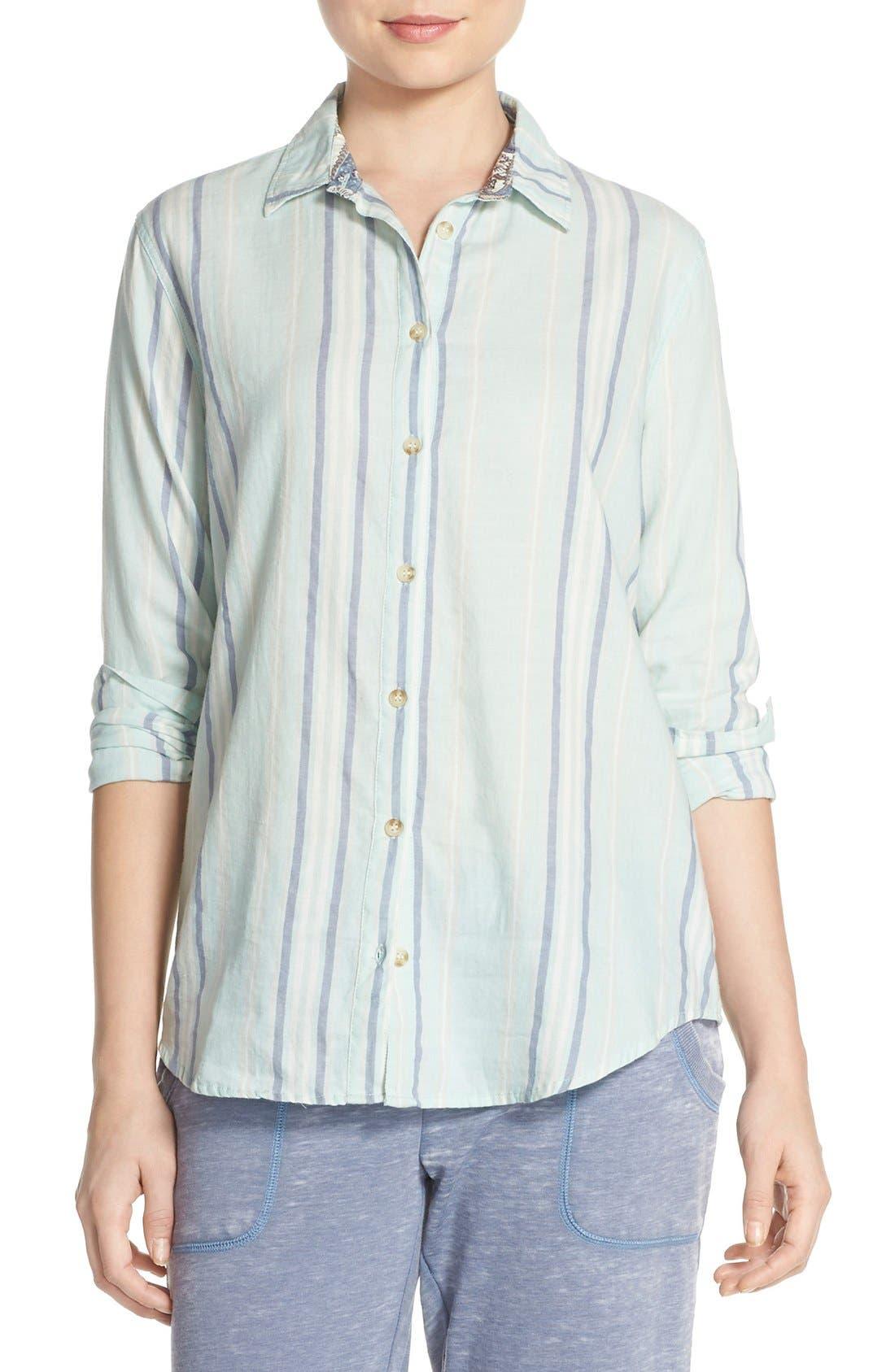 Stripe Cotton Twill Top,                         Main,                         color, Seafoam Green