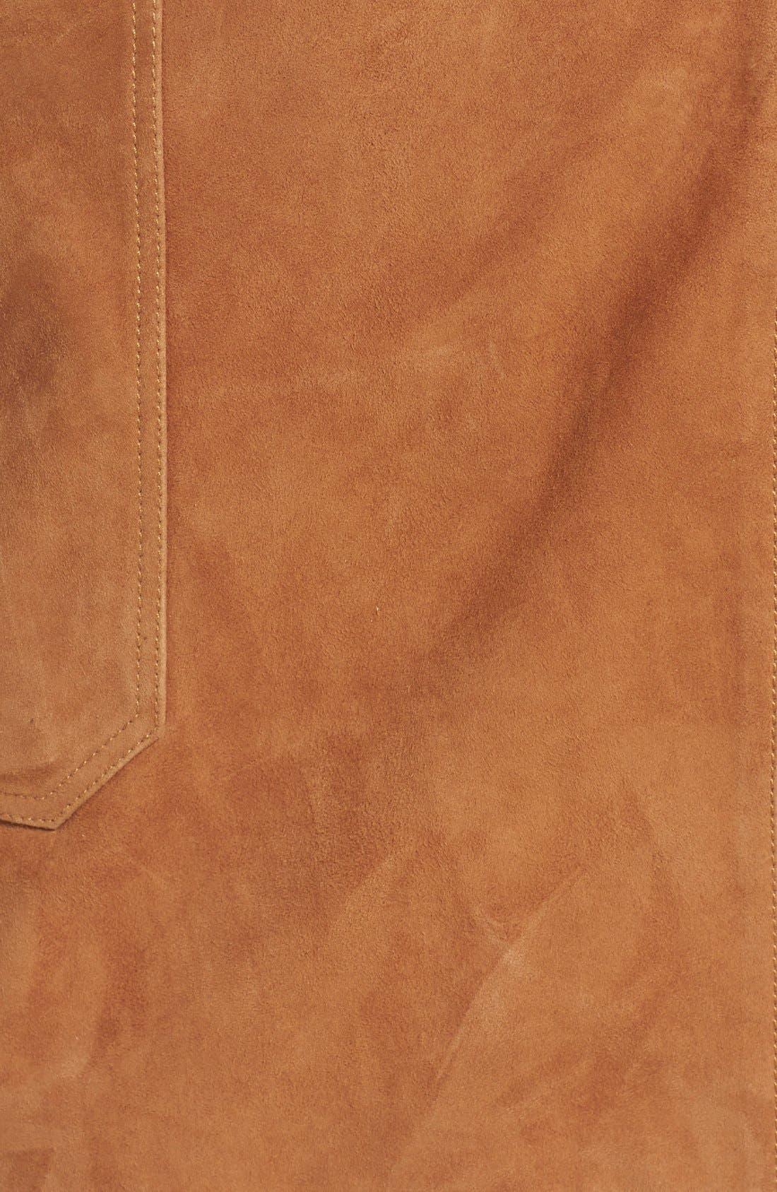 Suede Wrap Miniskirt,                             Alternate thumbnail 6, color,                             Tan Cognac