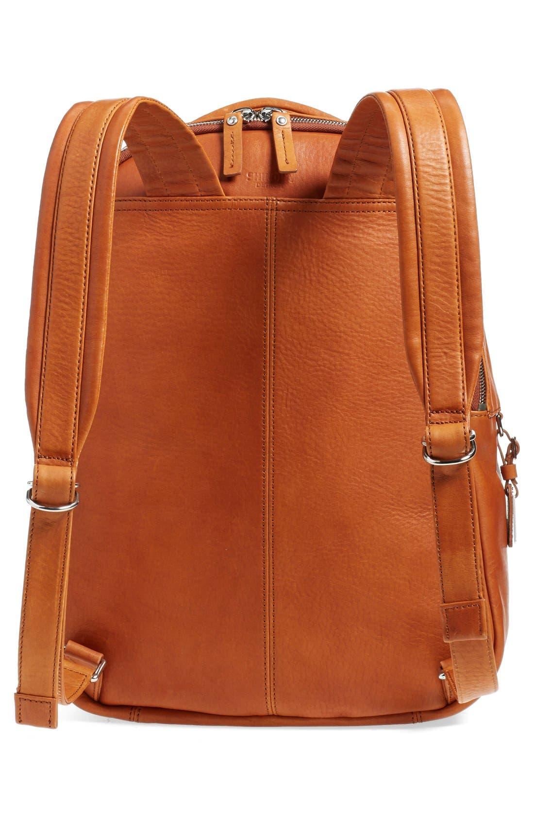 Runwell Leather Laptop Backpack,                             Alternate thumbnail 3, color,                             Bourbon