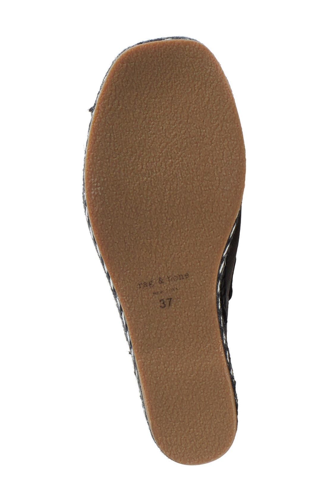 'Sayre II' Espadrille Wedge Sandal,                             Alternate thumbnail 4, color,                             Black