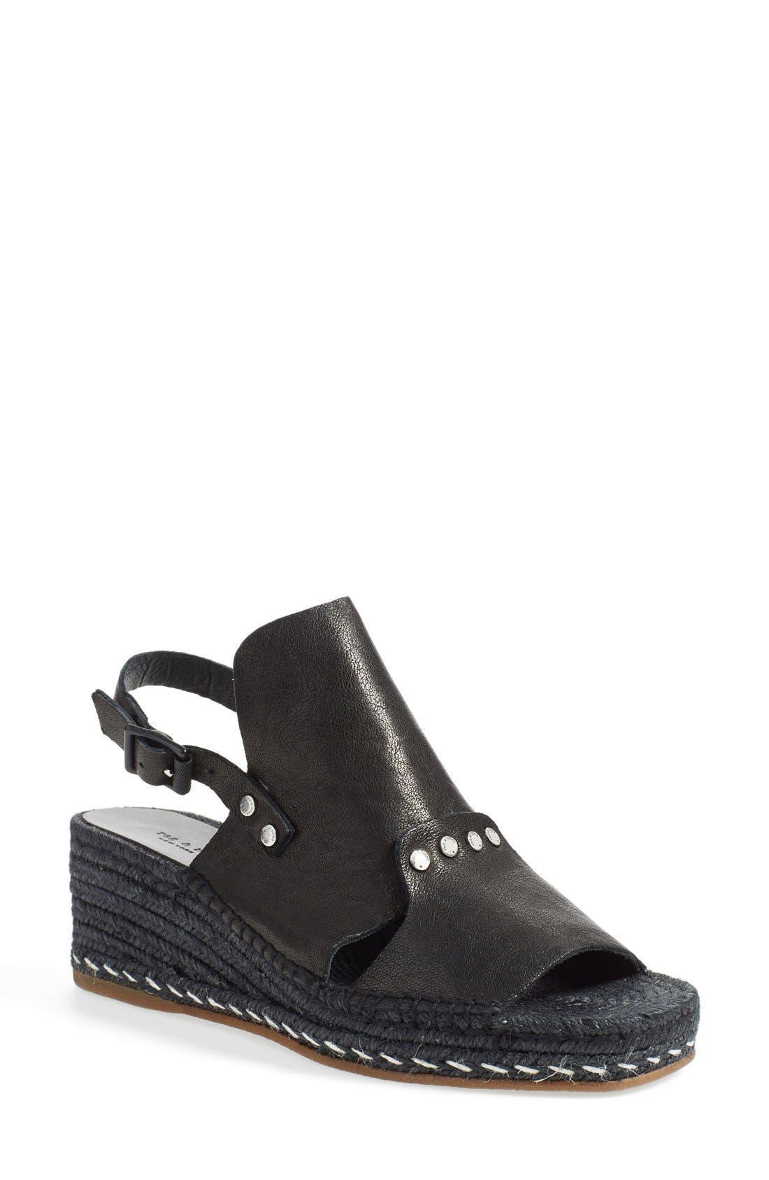 'Sayre II' Espadrille Wedge Sandal,                             Main thumbnail 1, color,                             Black