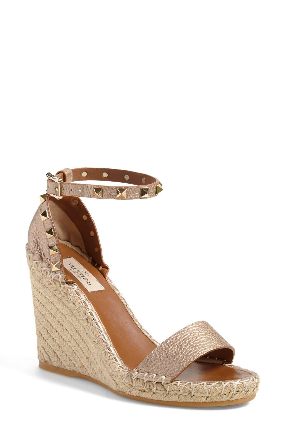 'Rockstud' Wedge Espadrille Sandal,                         Main,                         color, Metallic Leather