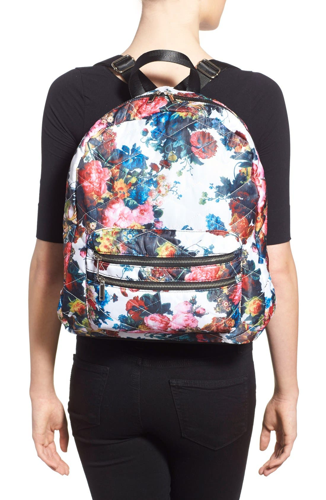 Alternate Image 2  - Dolce Girl 'Dome' Floral Print Quilted Backpack