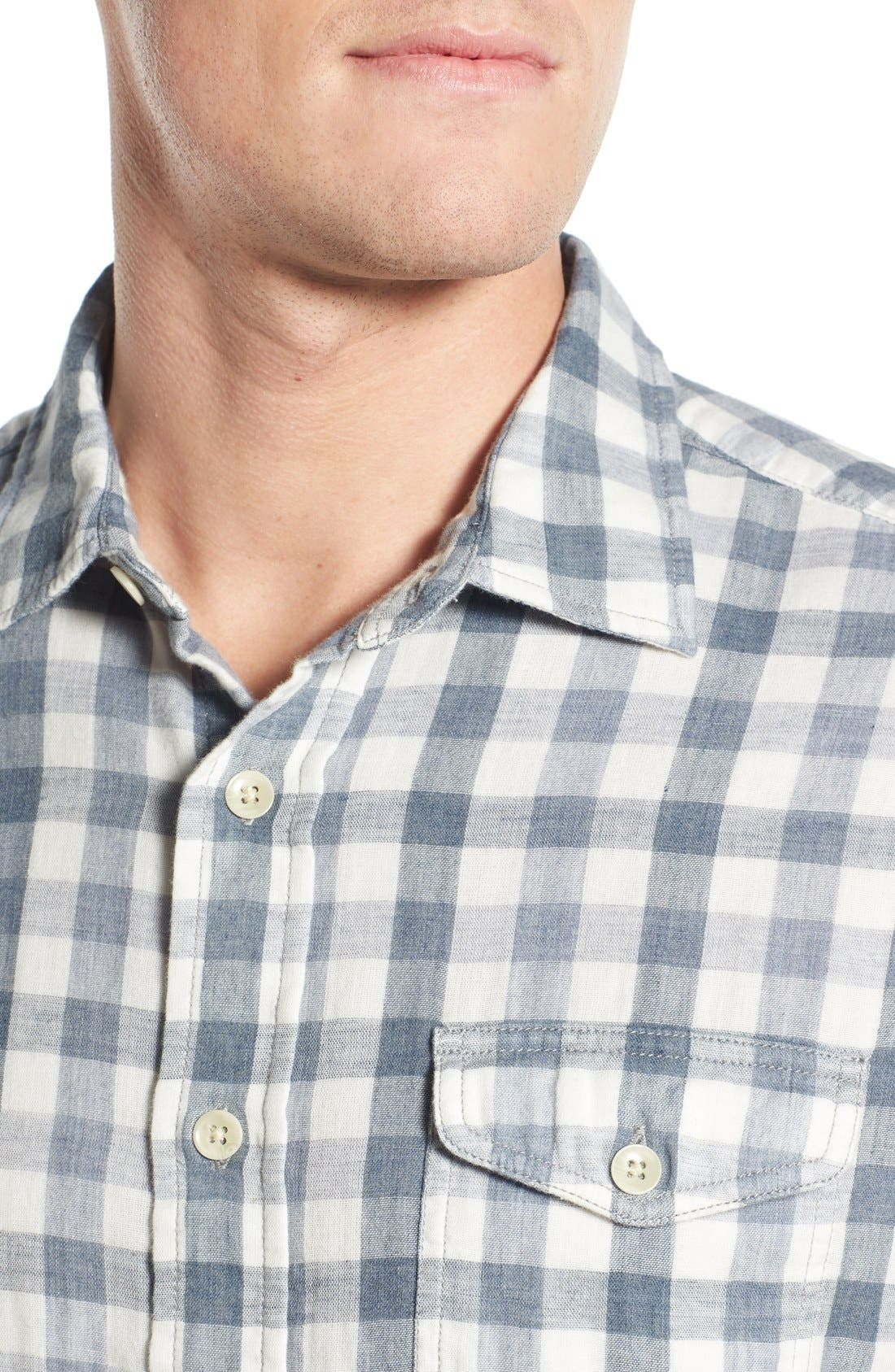 'Denby' Trim Fit Double Woven Sport Shirt,                             Alternate thumbnail 4, color,                             Heather Blue/ Cream Gingham