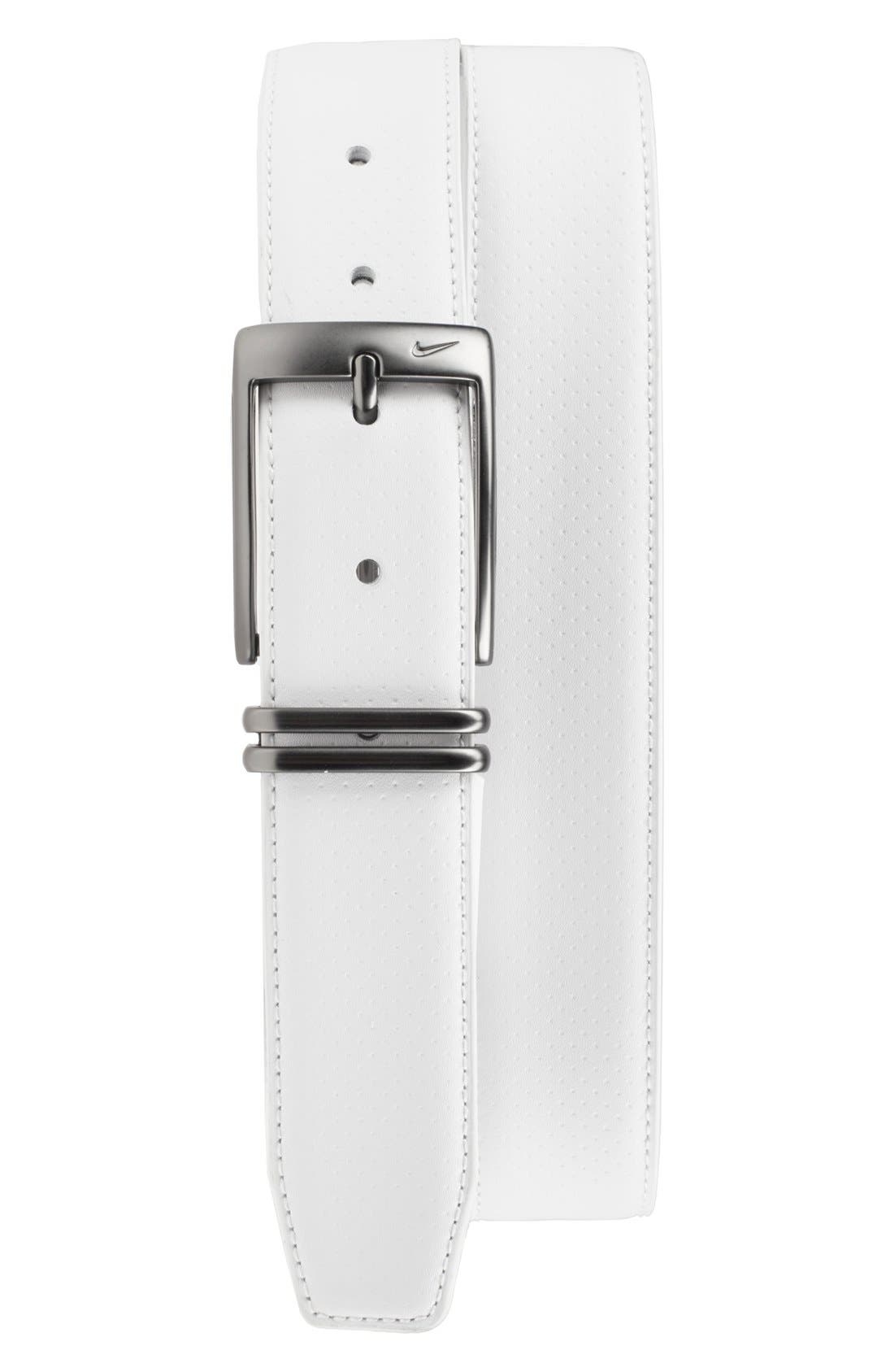 Perforated Leather Belt,                         Main,                         color, White