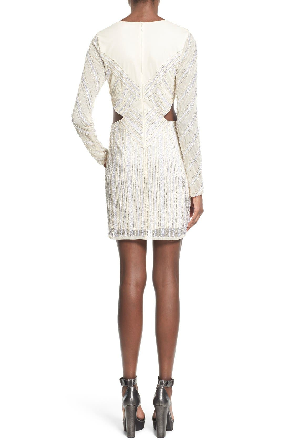 Embellished Cutout Sheath Dress,                             Alternate thumbnail 2, color,                             White