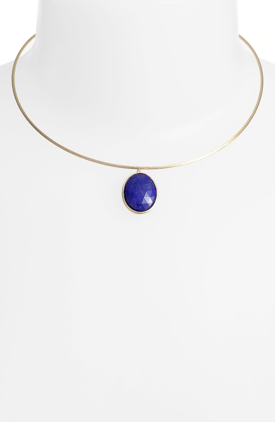 'Lunaria' Lapis Collar Necklace,                             Alternate thumbnail 2, color,                             Yellow Gold/ Lapis