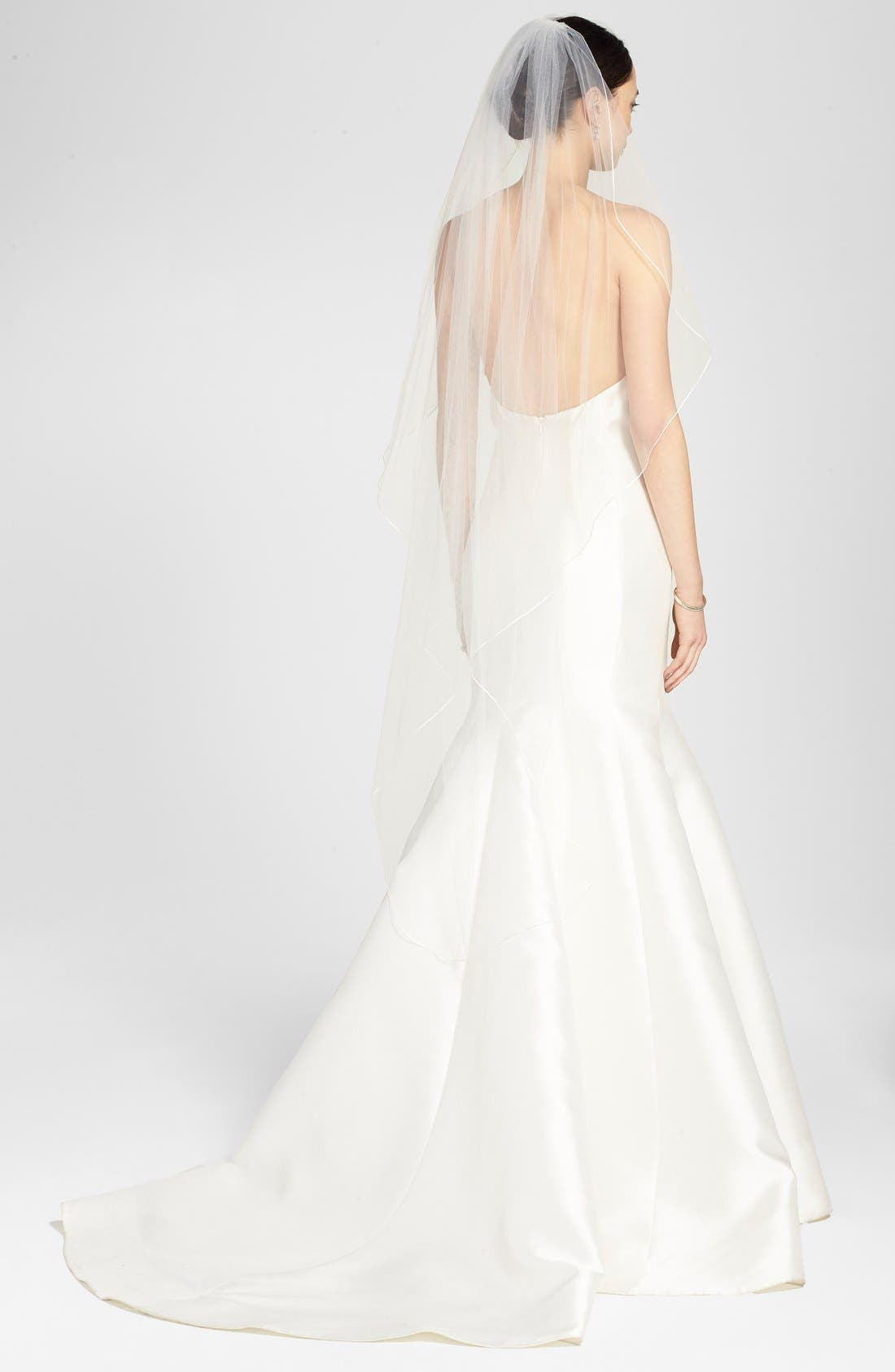 'Avalon' Cascading Waltz Length Veil,                             Alternate thumbnail 3, color,                             Light Ivory