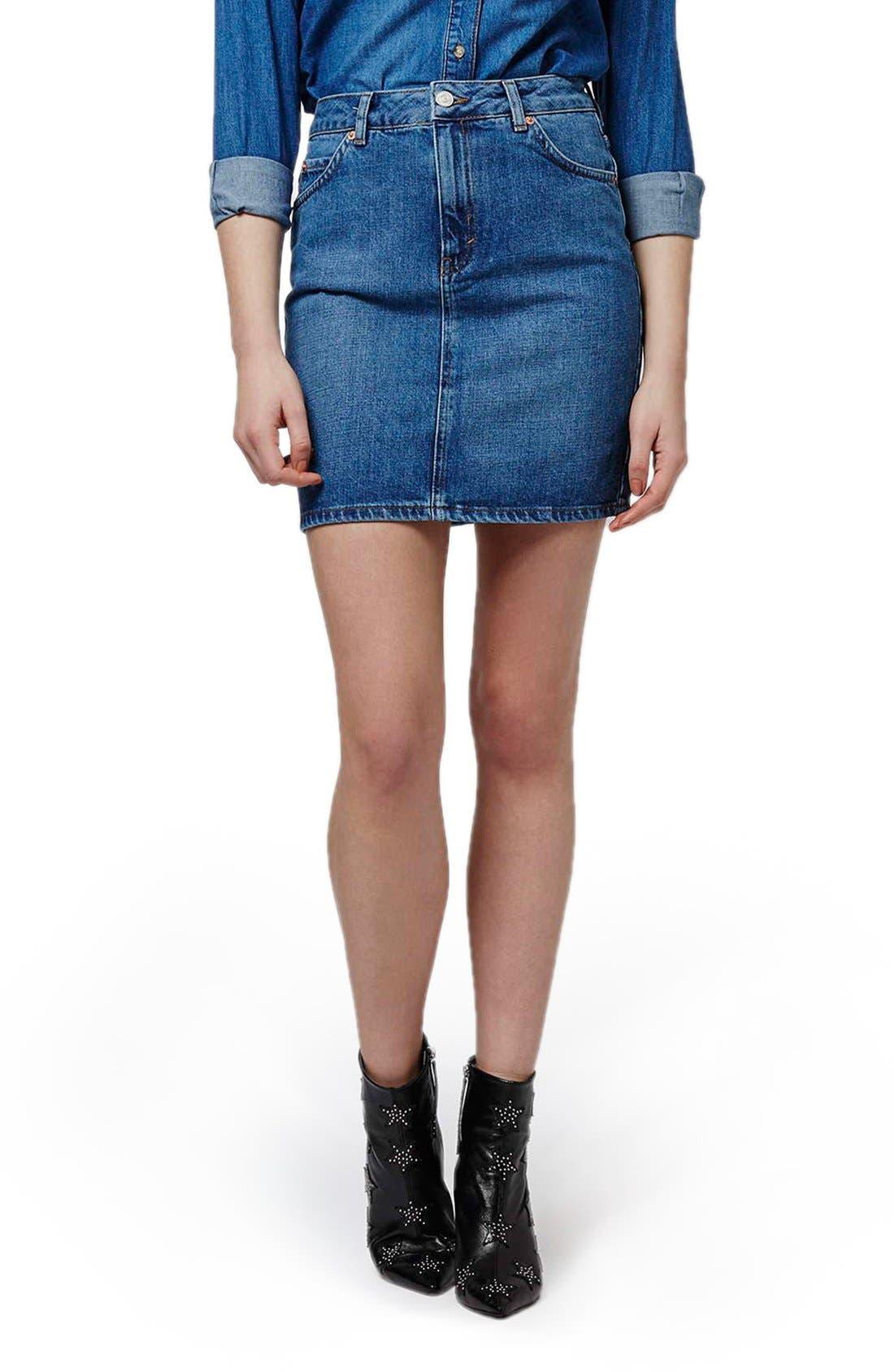 Main Image - Topshop High Waist Denim Miniskirt