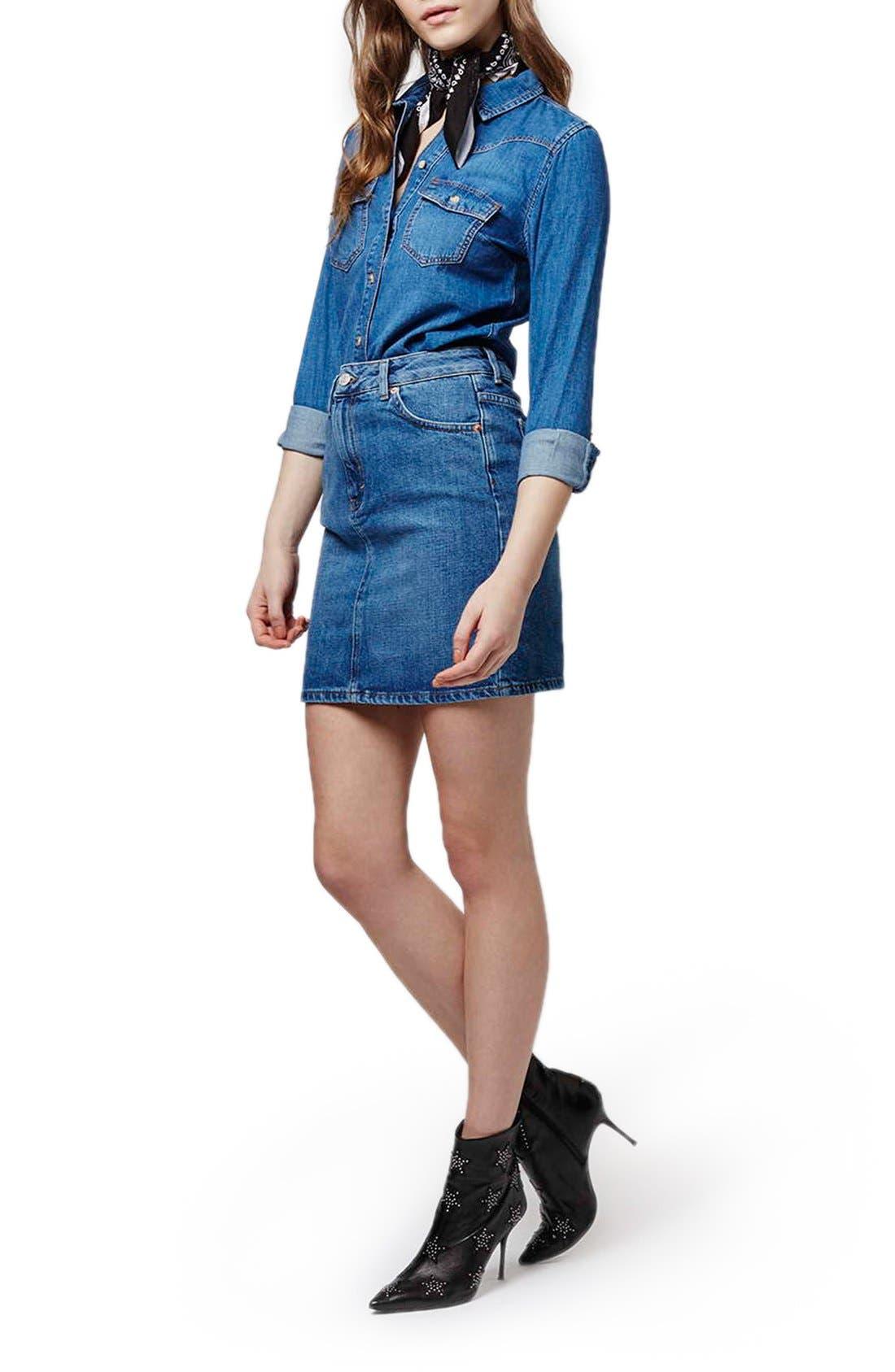 Alternate Image 2  - Topshop High Waist Denim Miniskirt