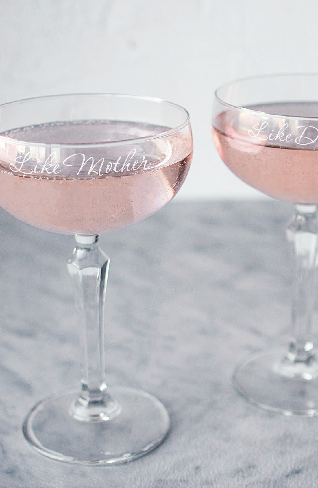 Alternate Image 1 Selected - Cathy's Concepts 'Mother Daughter' Etched Champagne Coupe Toasting Glasses