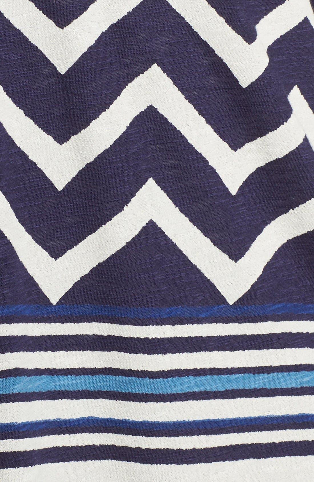 Chevron Stripe Split Neck Top,                             Alternate thumbnail 5, color,                             Navy Multi