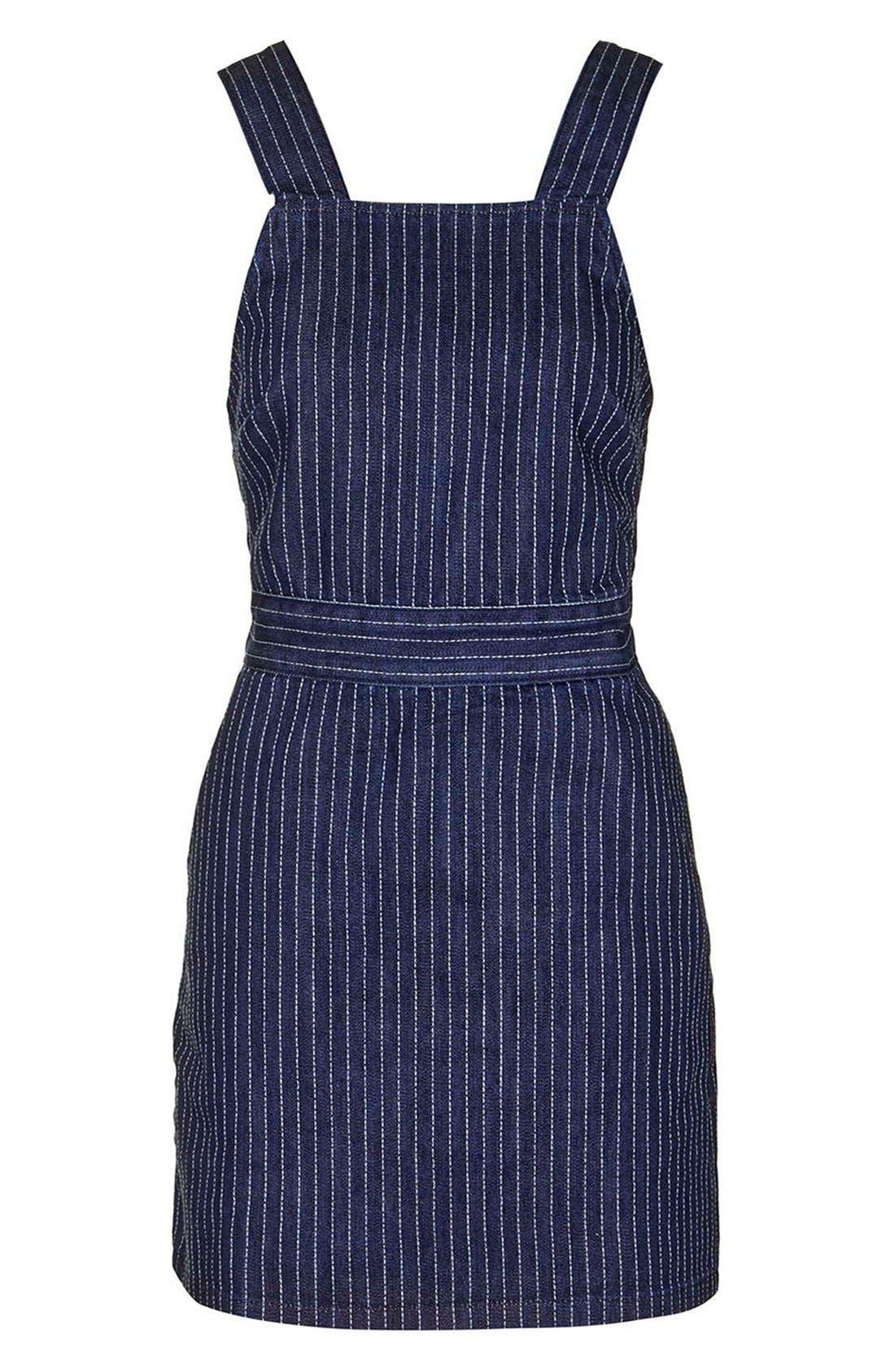 Alternate Image 5  - Topshop Pinstripe Denim Pinafore Dress