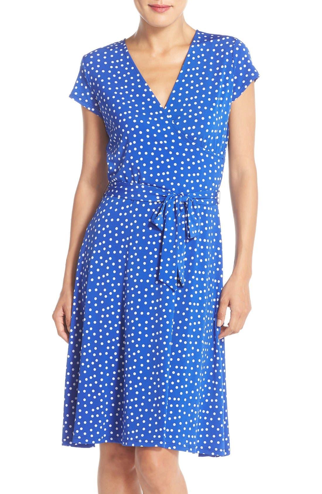 Main Image - Leota 'Perfect' Faux Wrap Polka Dot Jersey Dress