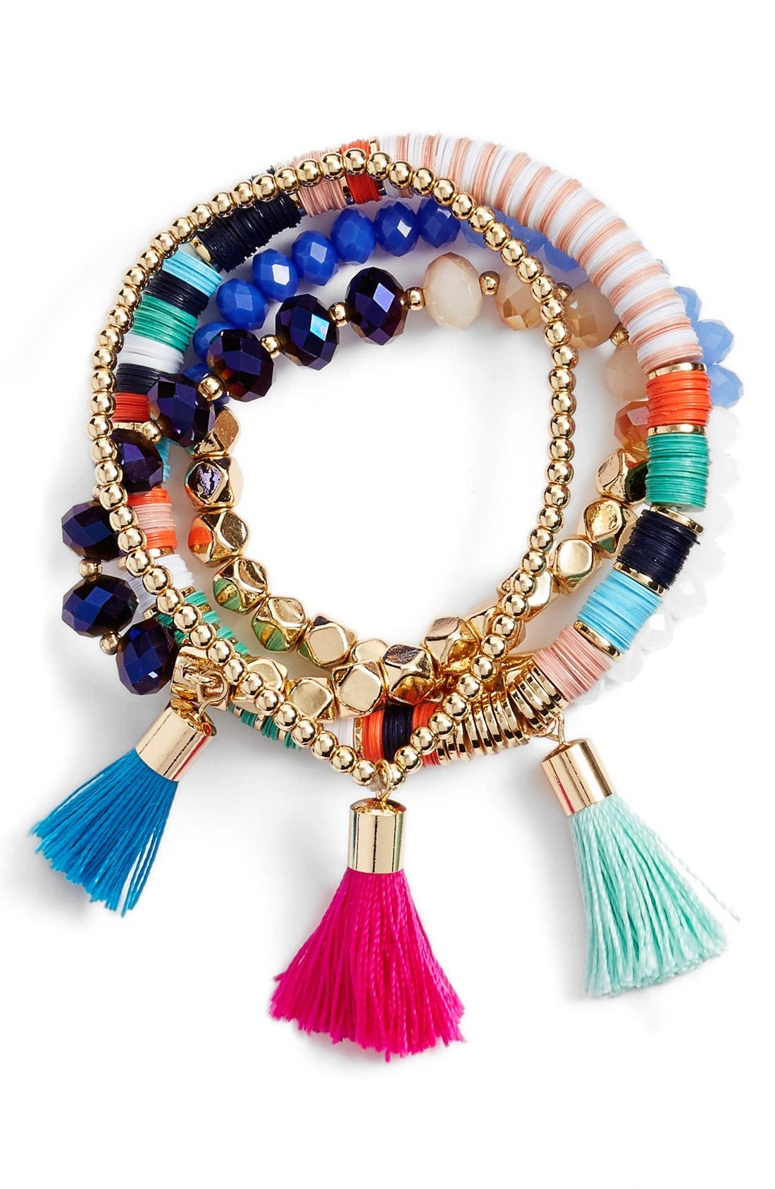 'Antiqua' Beaded Stretch Bracelets,                         Main,                         color, Turquois/ Multi/ Gold