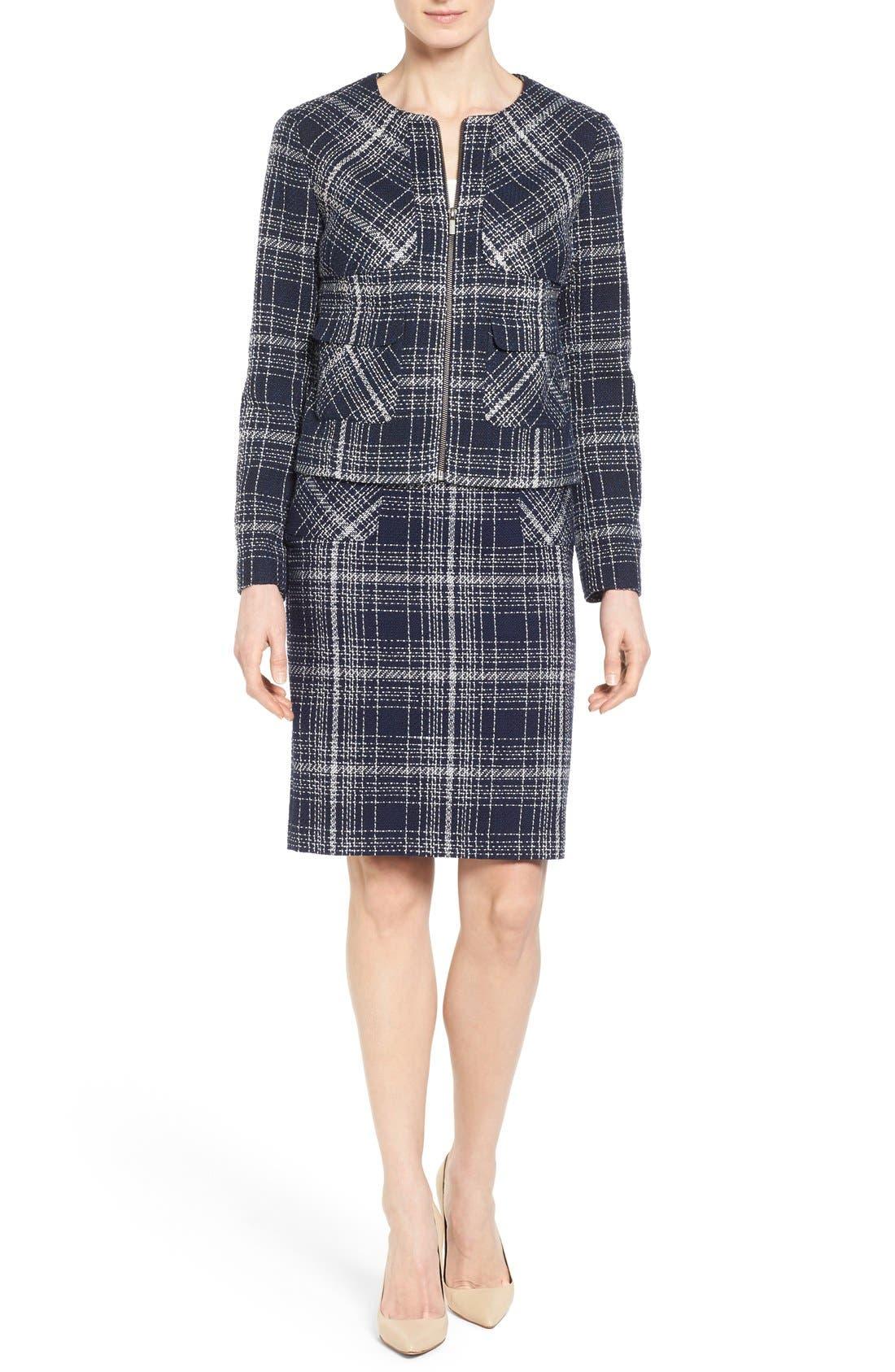 Flap Pocket Tweed Pencil Skirt,                             Alternate thumbnail 2, color,                             Navy Tweed