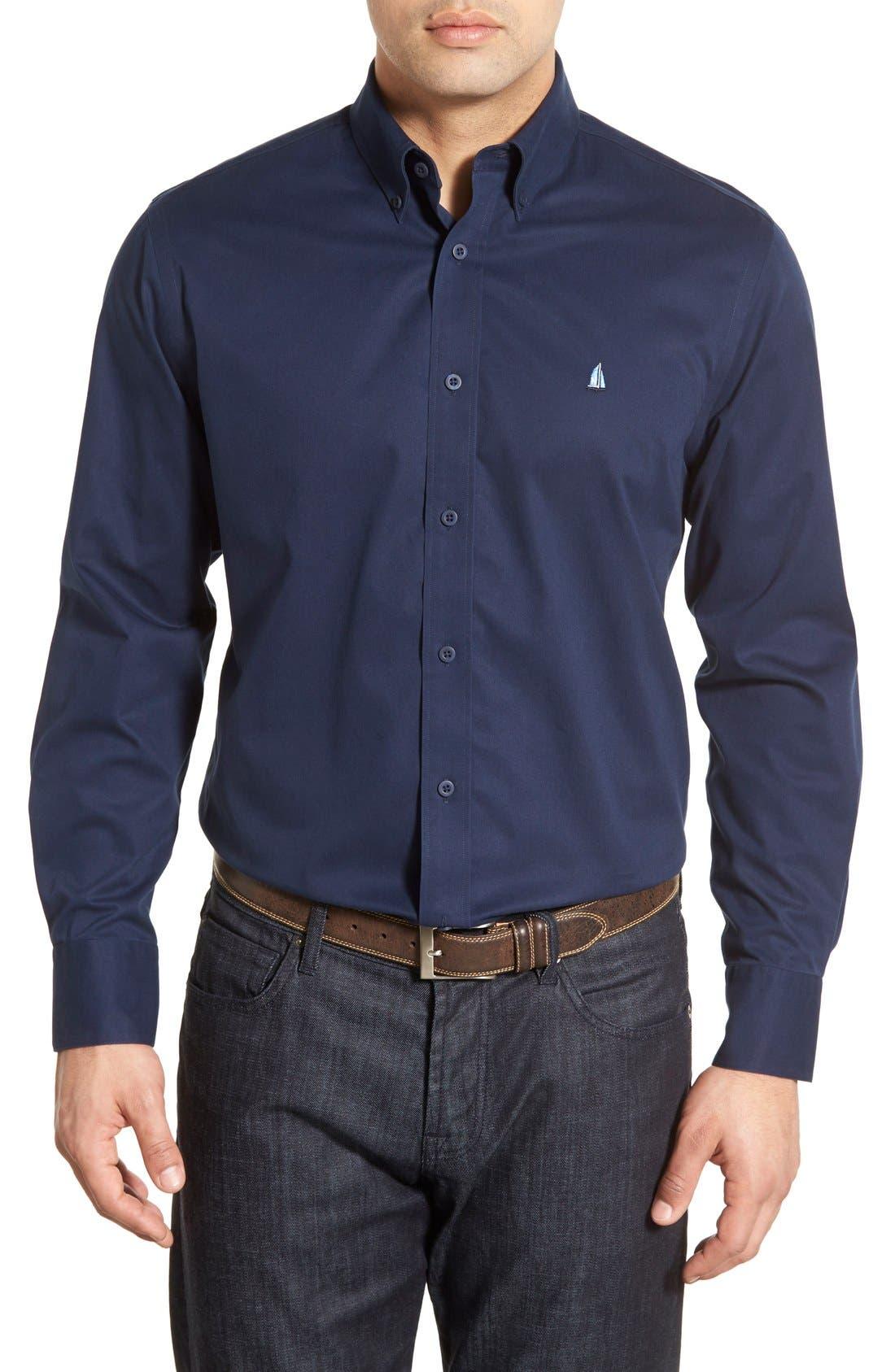 Main Image - Nordstrom Men's Shop Smartcare™ Traditional Fit Twill Boat Shirt (Regular & Tall)