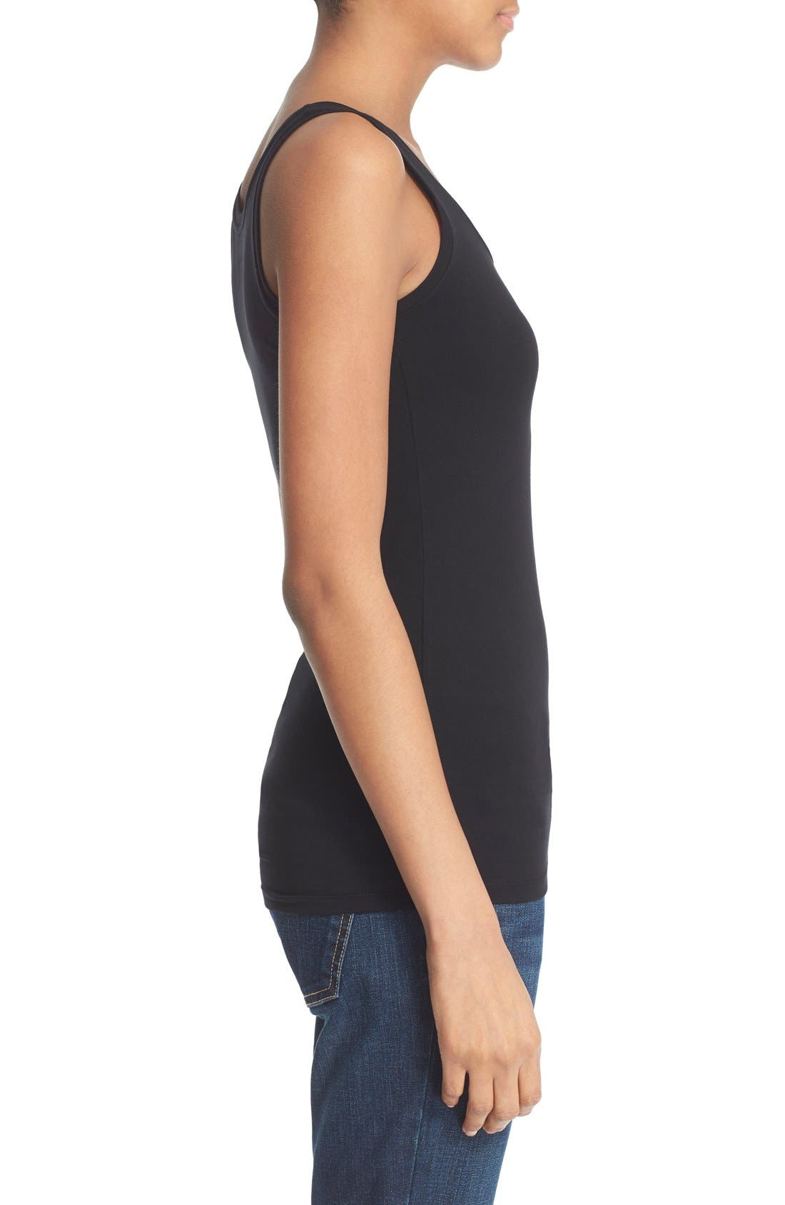 Rib Knit Tank,                             Alternate thumbnail 3, color,                             Noir