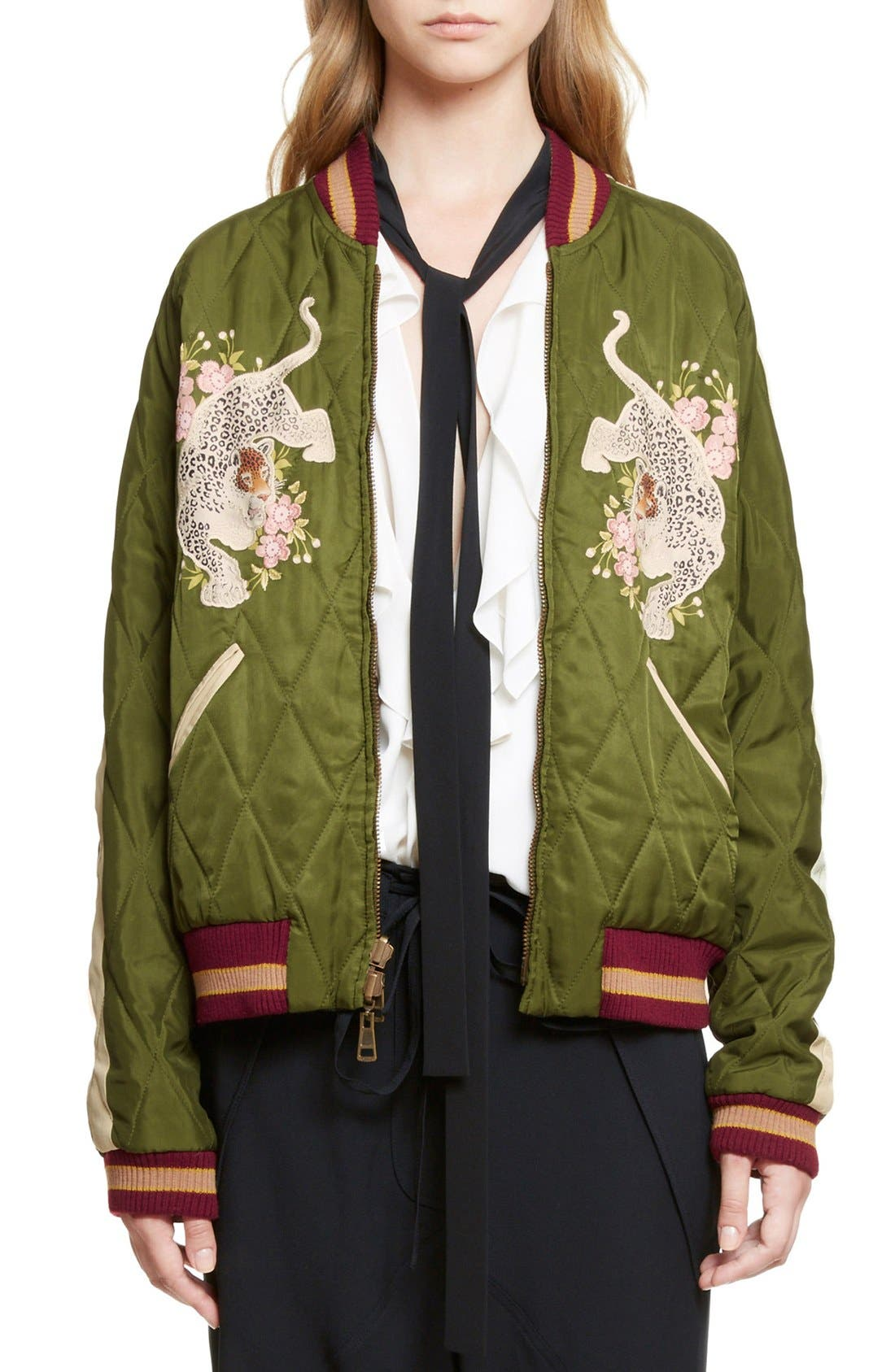 Reversible Embroidered Tech Satin Bomber Jacket,                             Main thumbnail 1, color,                             Deep Green