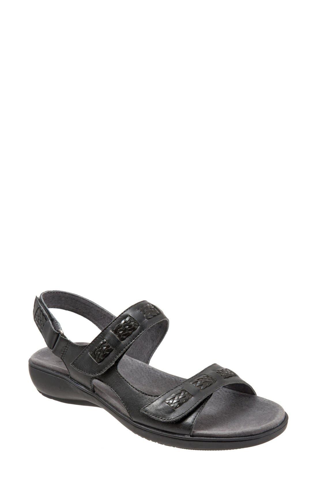 'Kip' Sandal,                         Main,                         color, Black Leather