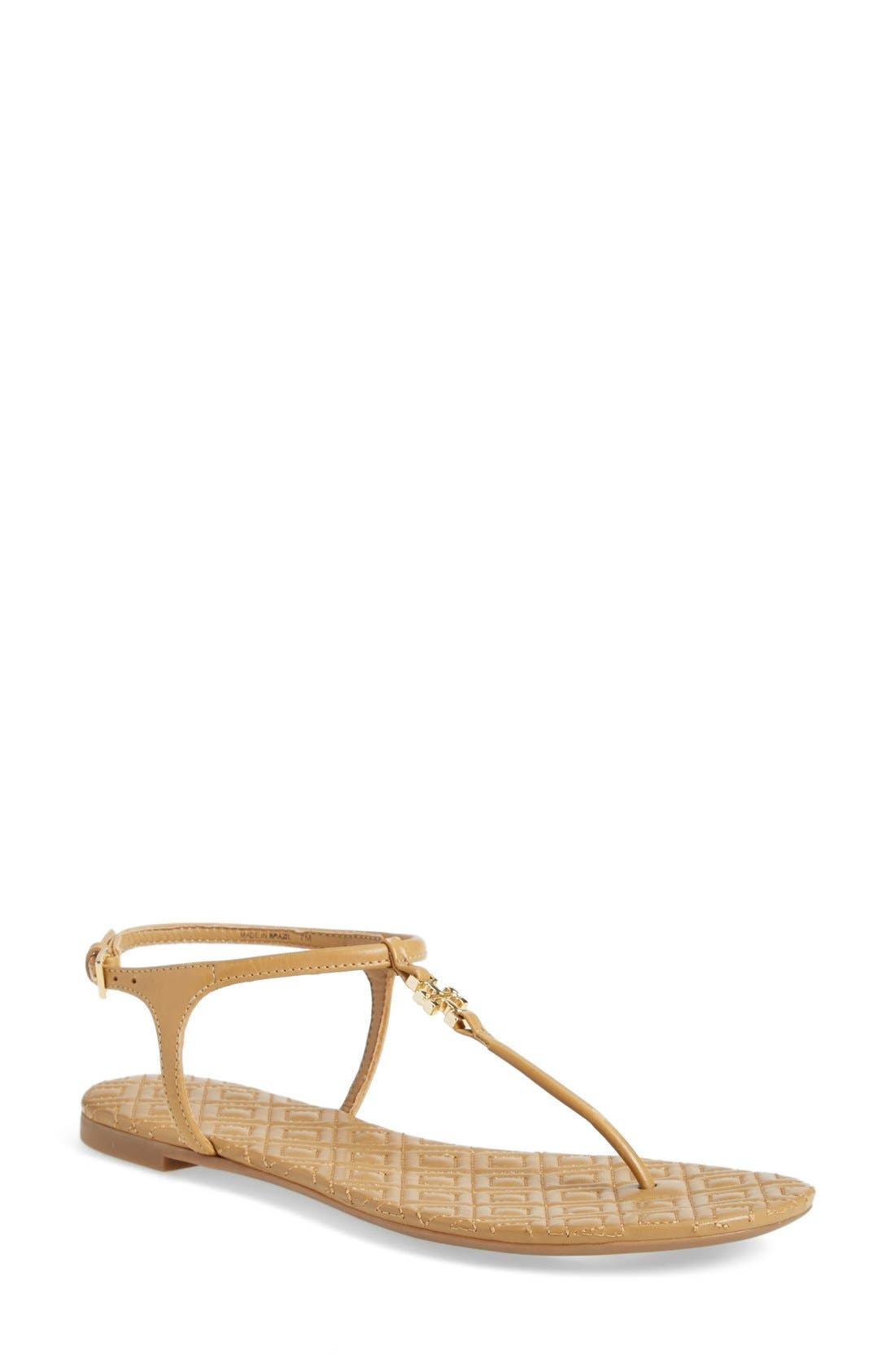 'Marion' Quilted Sandal,                             Main thumbnail 1, color,                             Sand Leather