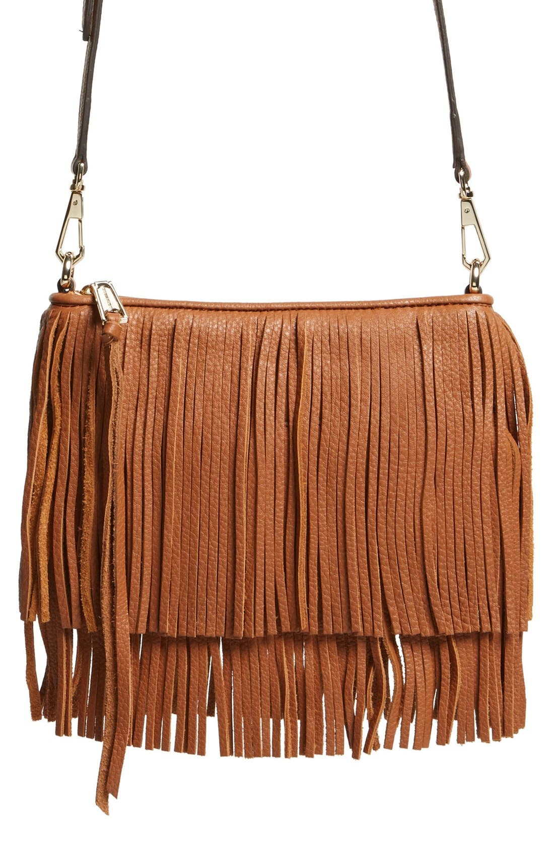 'Finn' Convertible Leather Clutch,                         Main,                         color, Almond