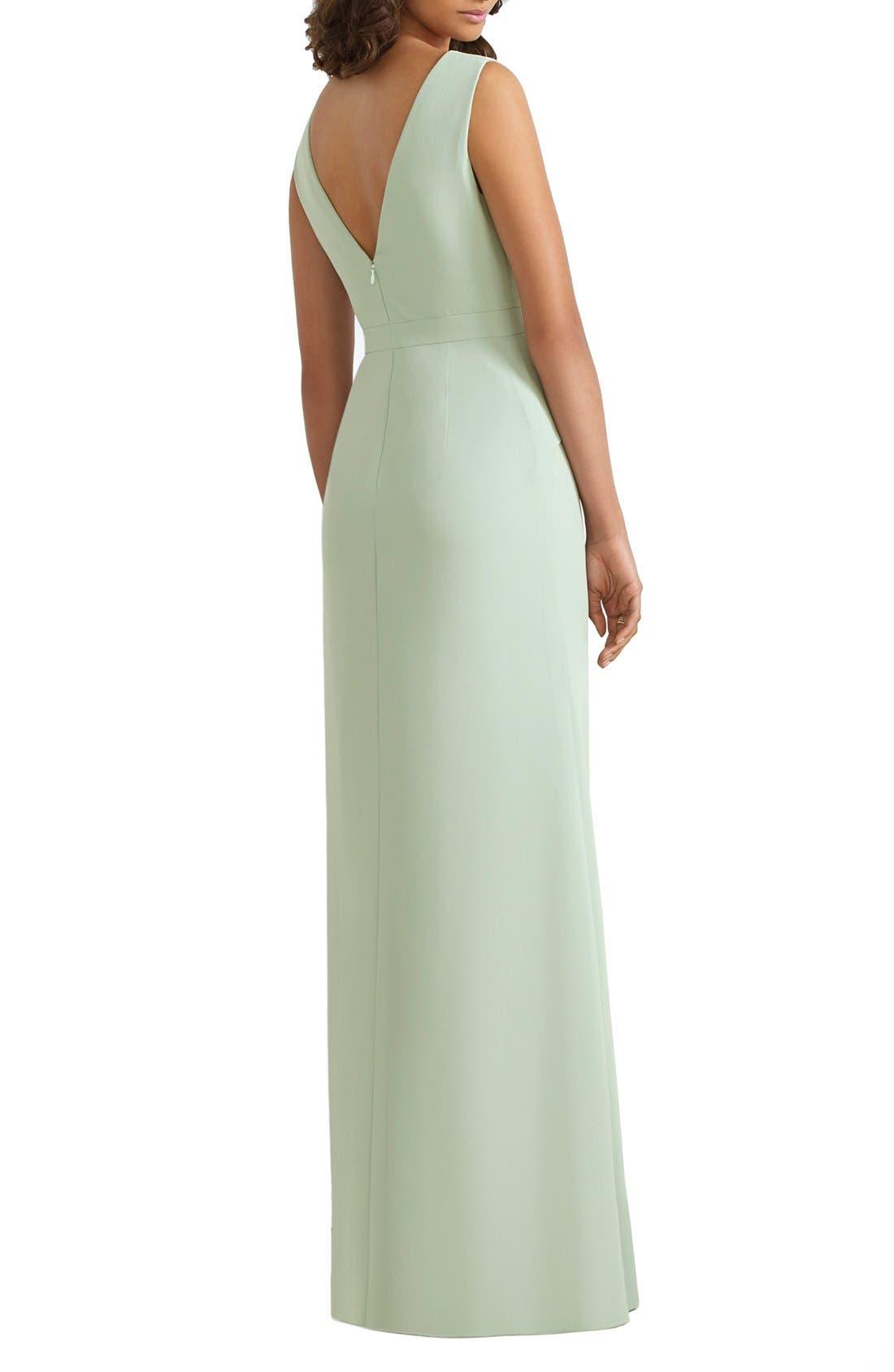 Alternate Image 2  - Social Bridesmaids Lace Inset V-Neck Peplum Detail Gown