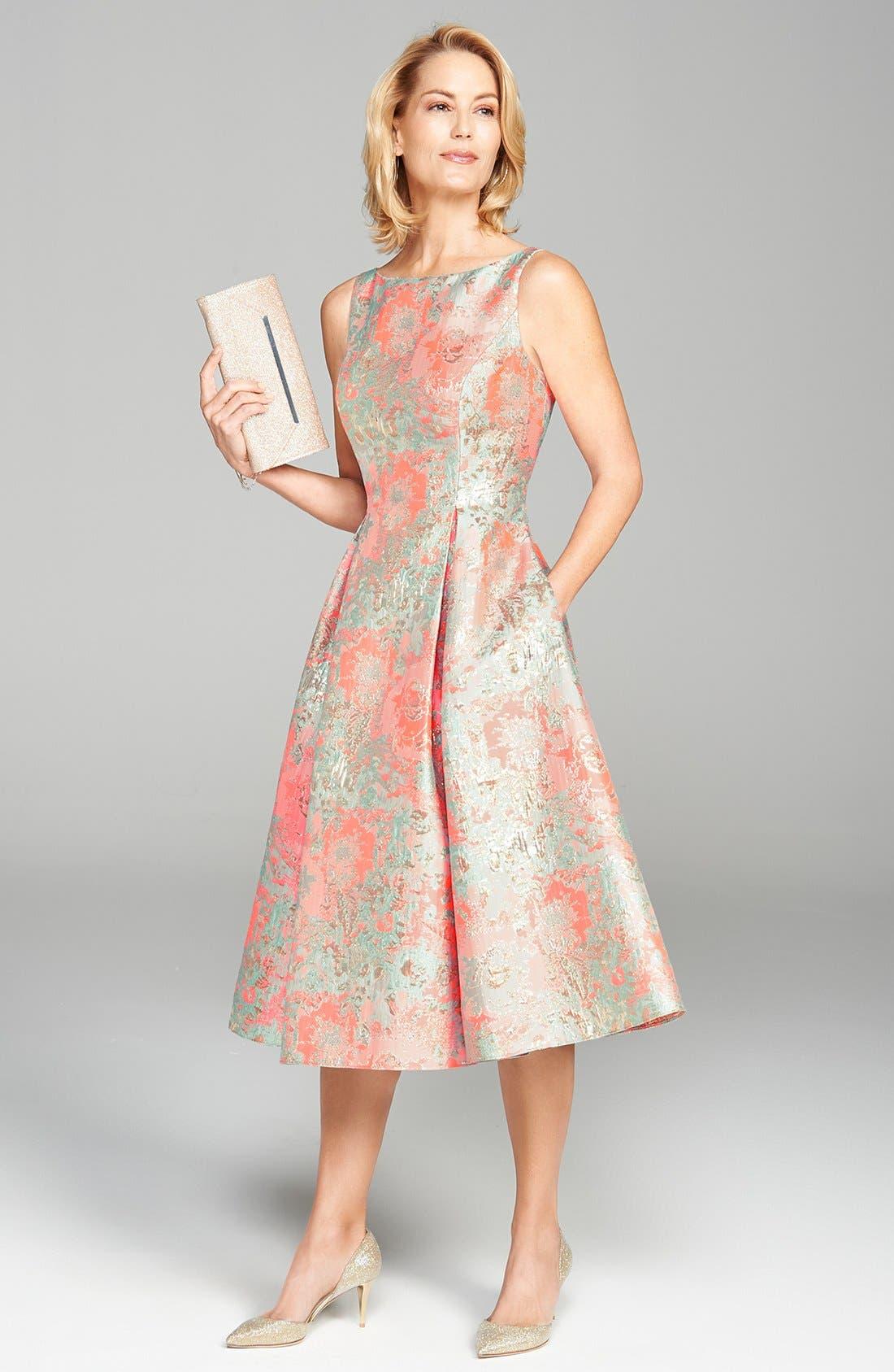 Alternate Image 7  - Adrianna Papell Metallic Jacquard Fit & Flare Dress