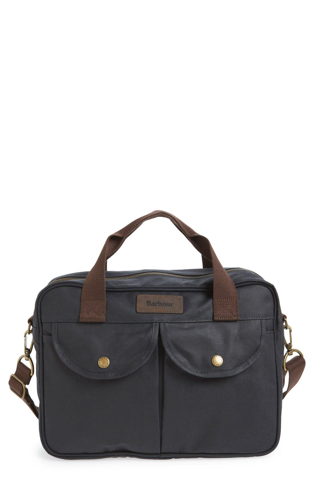 Main Image - Barbour 'Longthorpe' Waxed Canvas Laptop Bag