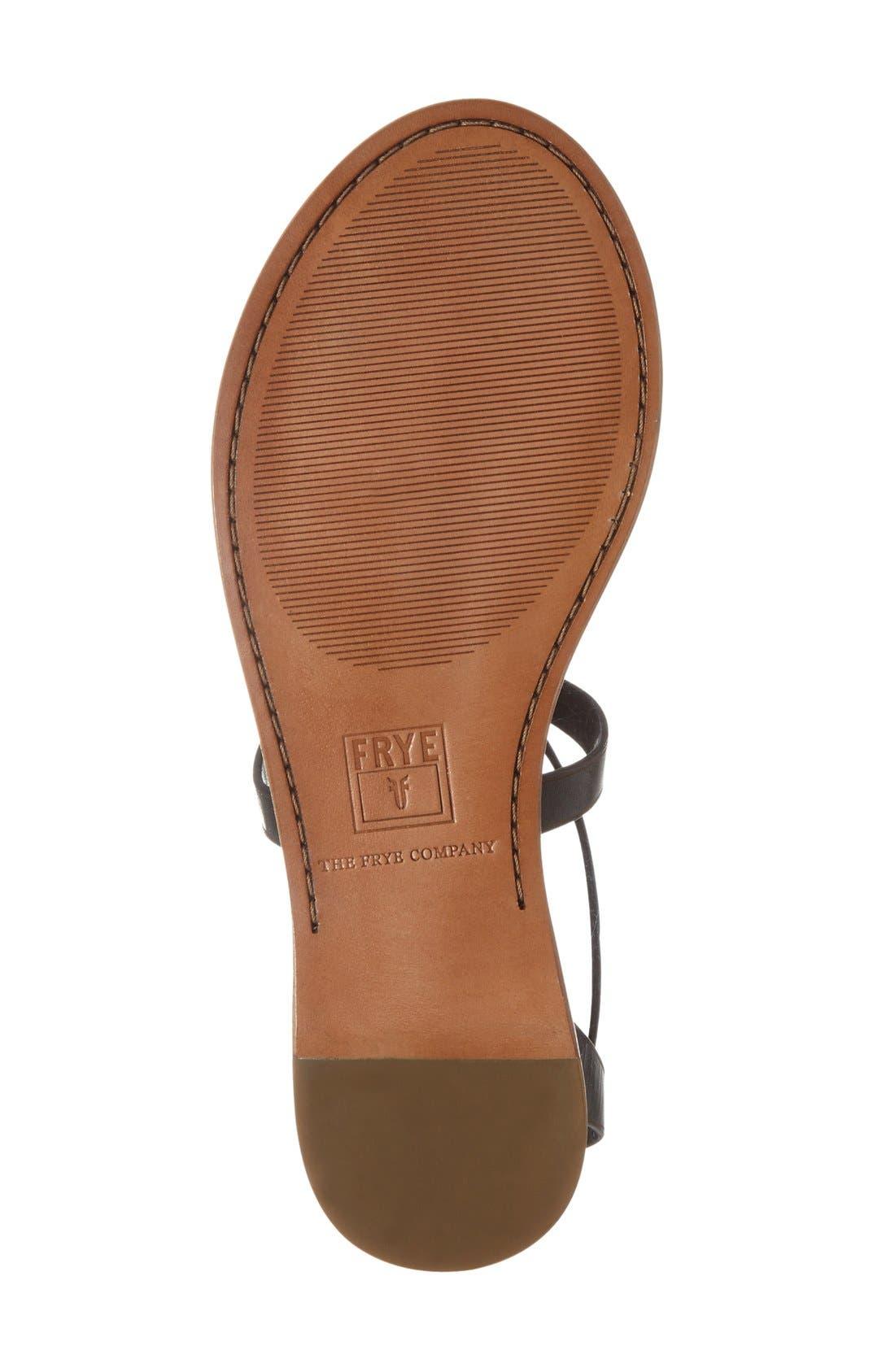 'Rachel' T-Strap Sandal,                             Alternate thumbnail 4, color,                             Black Leather