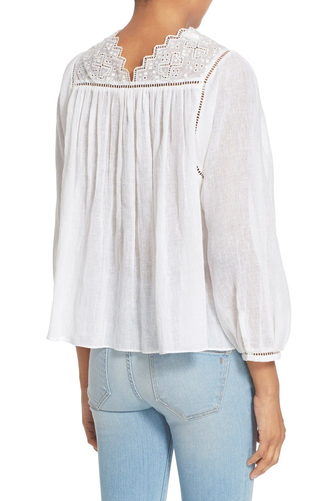 Alternate Image 2  - Rebecca Taylor Lace Trim Woven Peasant Top