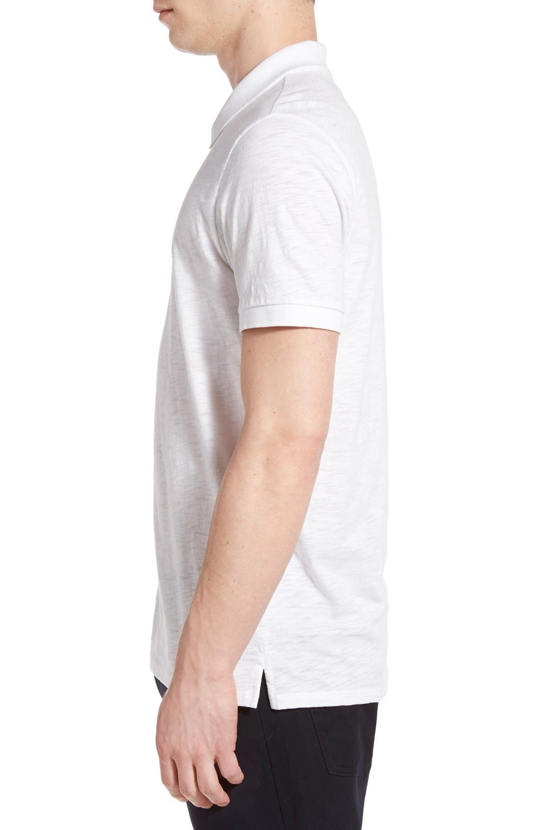 Slub Cotton Polo,                             Alternate thumbnail 3, color,                             White