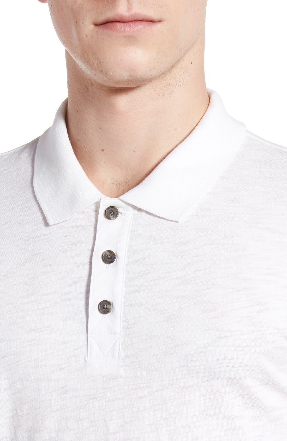 Slub Cotton Polo,                             Alternate thumbnail 4, color,                             White