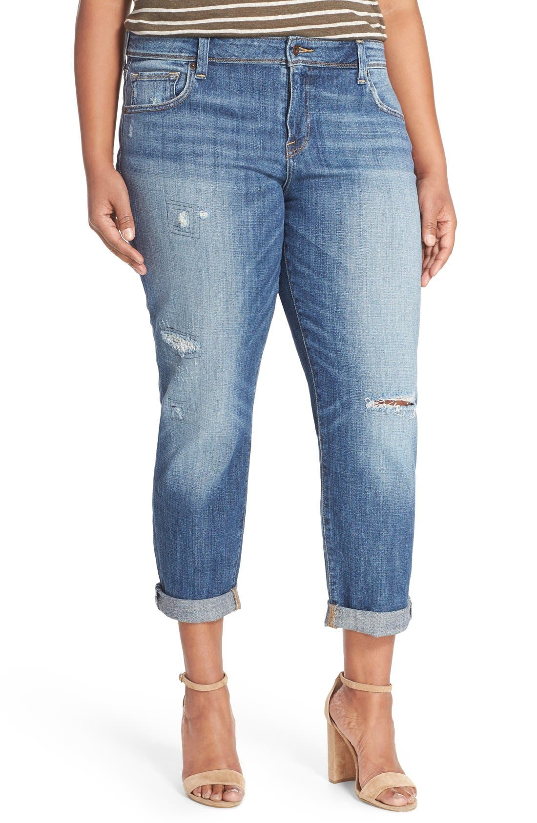 Alternate Image 1 Selected - Lucky Brand Reese Distressed Boyfriend Jeans (Northridge Park) (Plus Size)