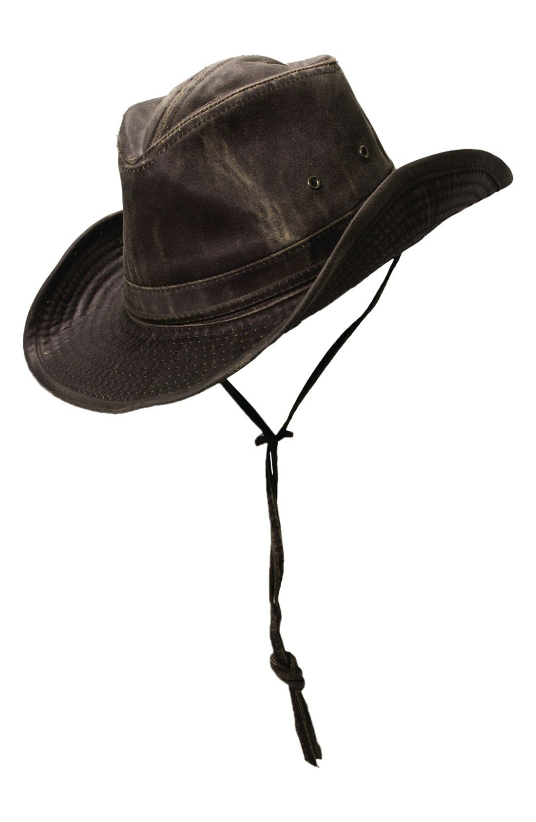 Cotton Blend Outback Hat,                         Main,                         color, Brown