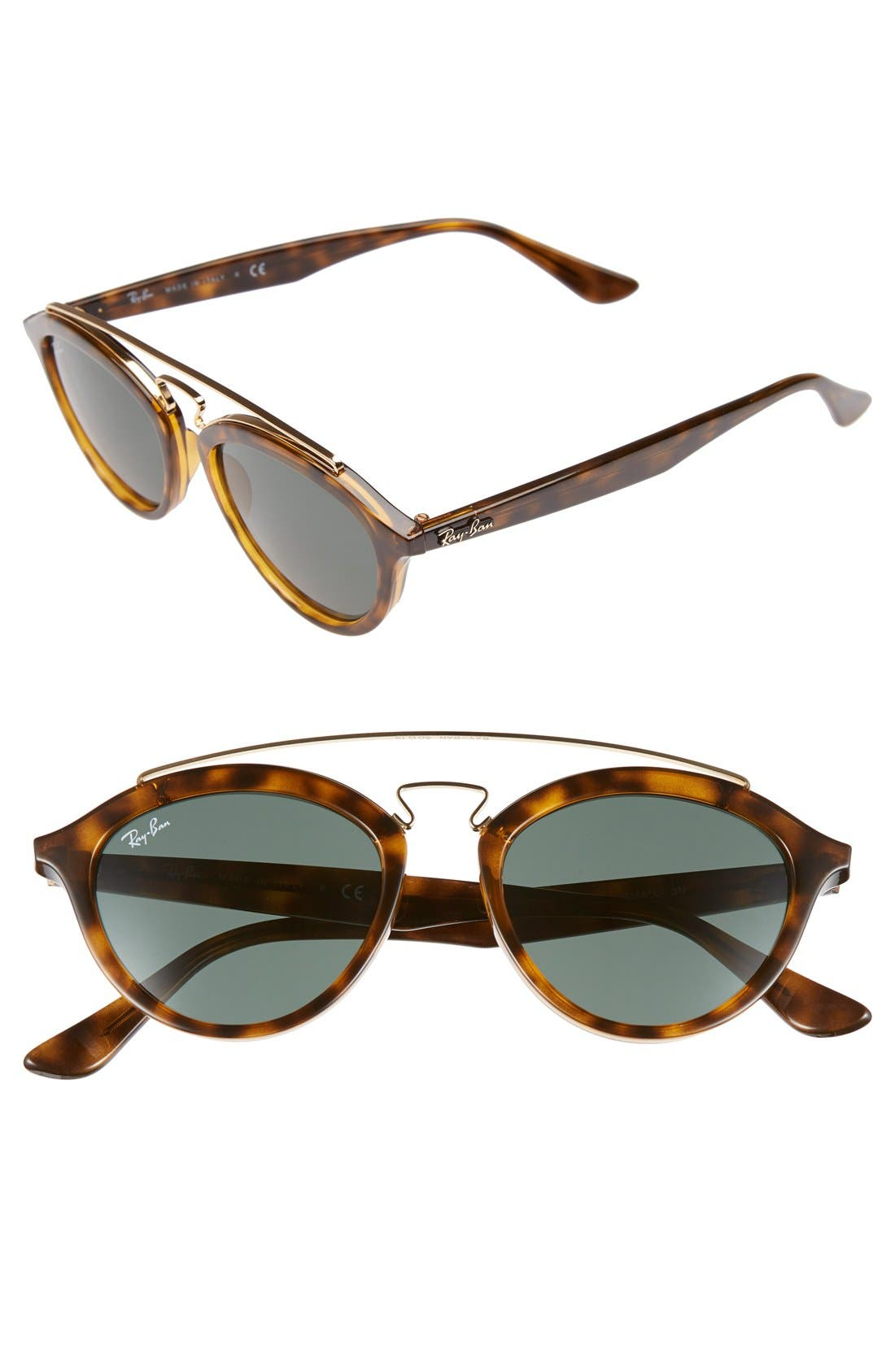 Highstreet 50mm Brow Bar Sunglasses,                         Main,                         color, Havana