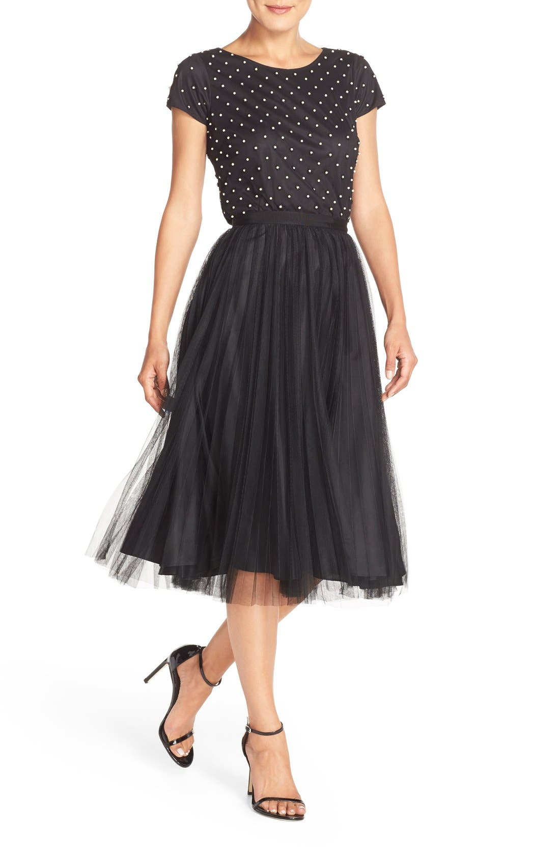Alternate Image 4  - Adrianna Papell Pleated Tulle Midi Skirt