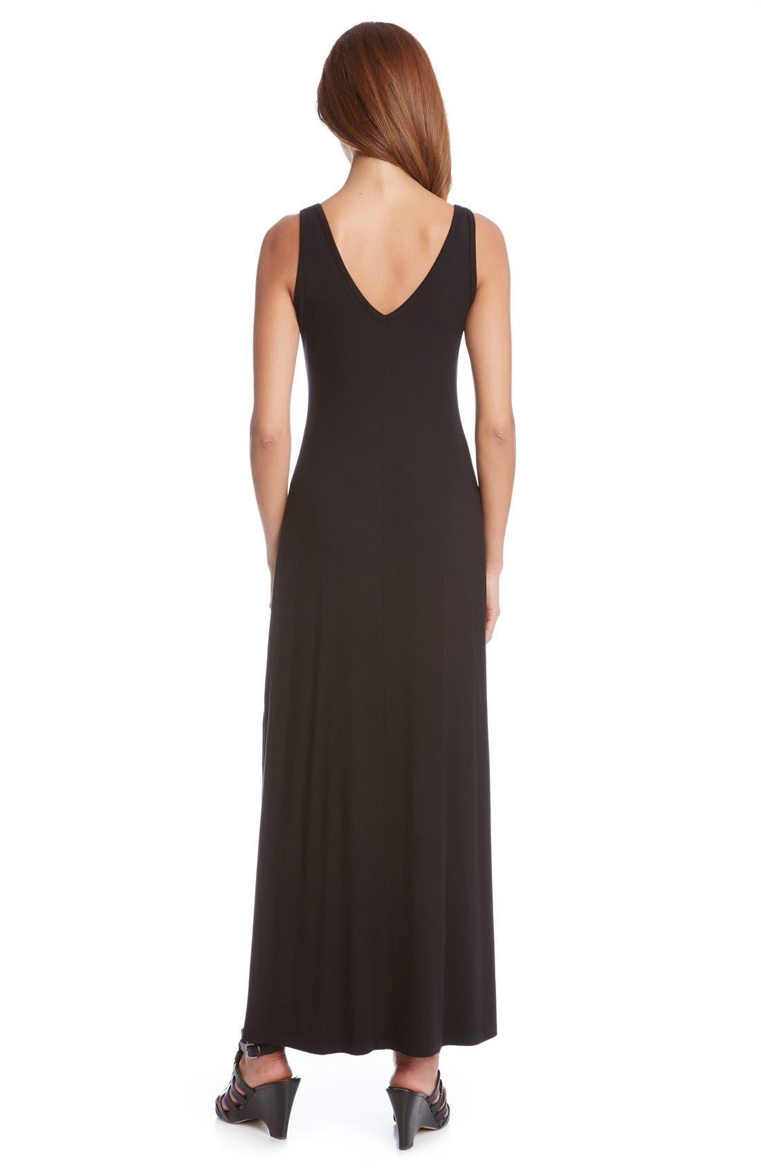 'Alana' Double V-Neck Maxi Dress,                             Alternate thumbnail 3, color,                             Black