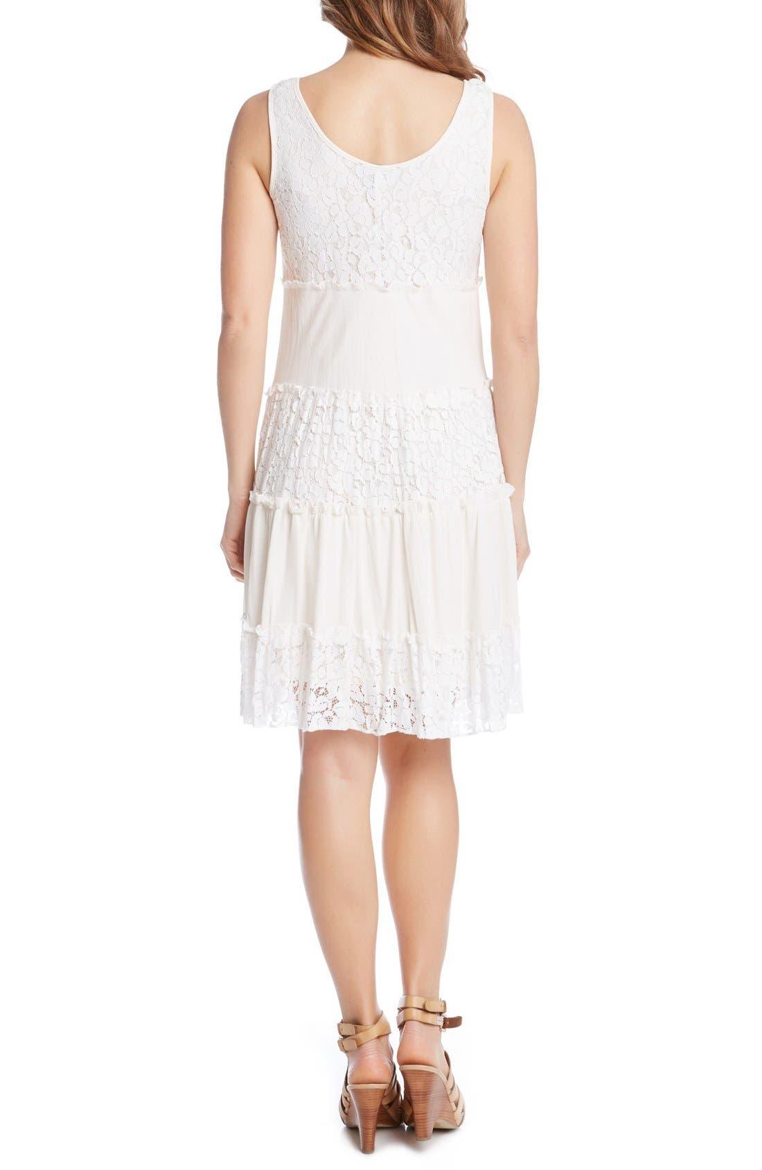 'Tara' Tiered Lace A-Line Dress,                             Alternate thumbnail 2, color,                             Cream