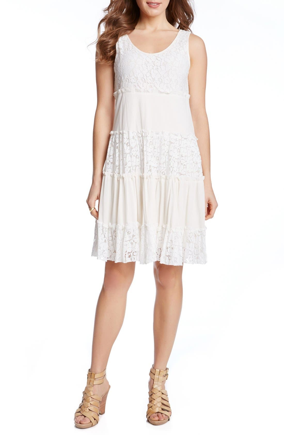 'Tara' Tiered Lace A-Line Dress,                             Alternate thumbnail 3, color,                             Cream