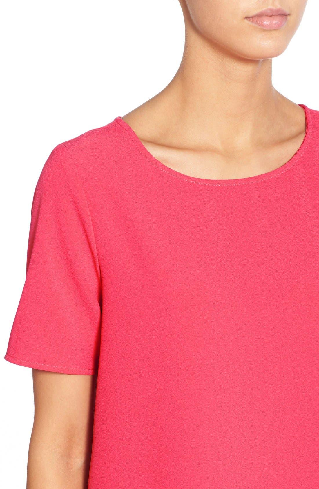 'Magnolia' Shift Dress,                             Alternate thumbnail 4, color,                             Flamingo