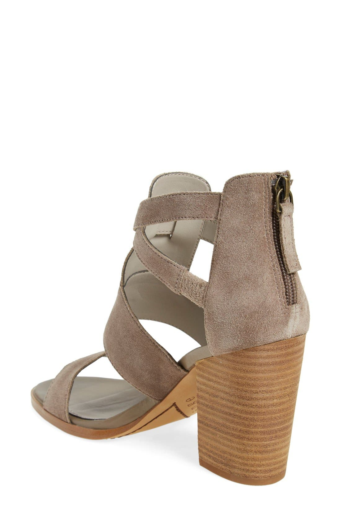 'Cora' Block Heel Sandal,                             Alternate thumbnail 4, color,                             Taupe Suede