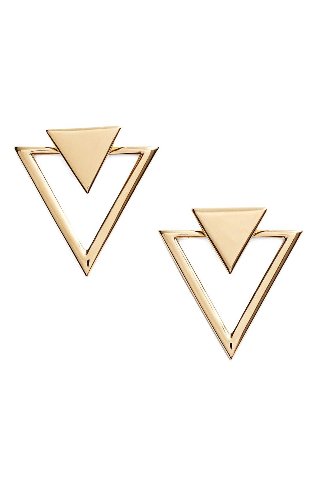 Triangle Stud Earrings,                             Main thumbnail 1, color,                             Gold