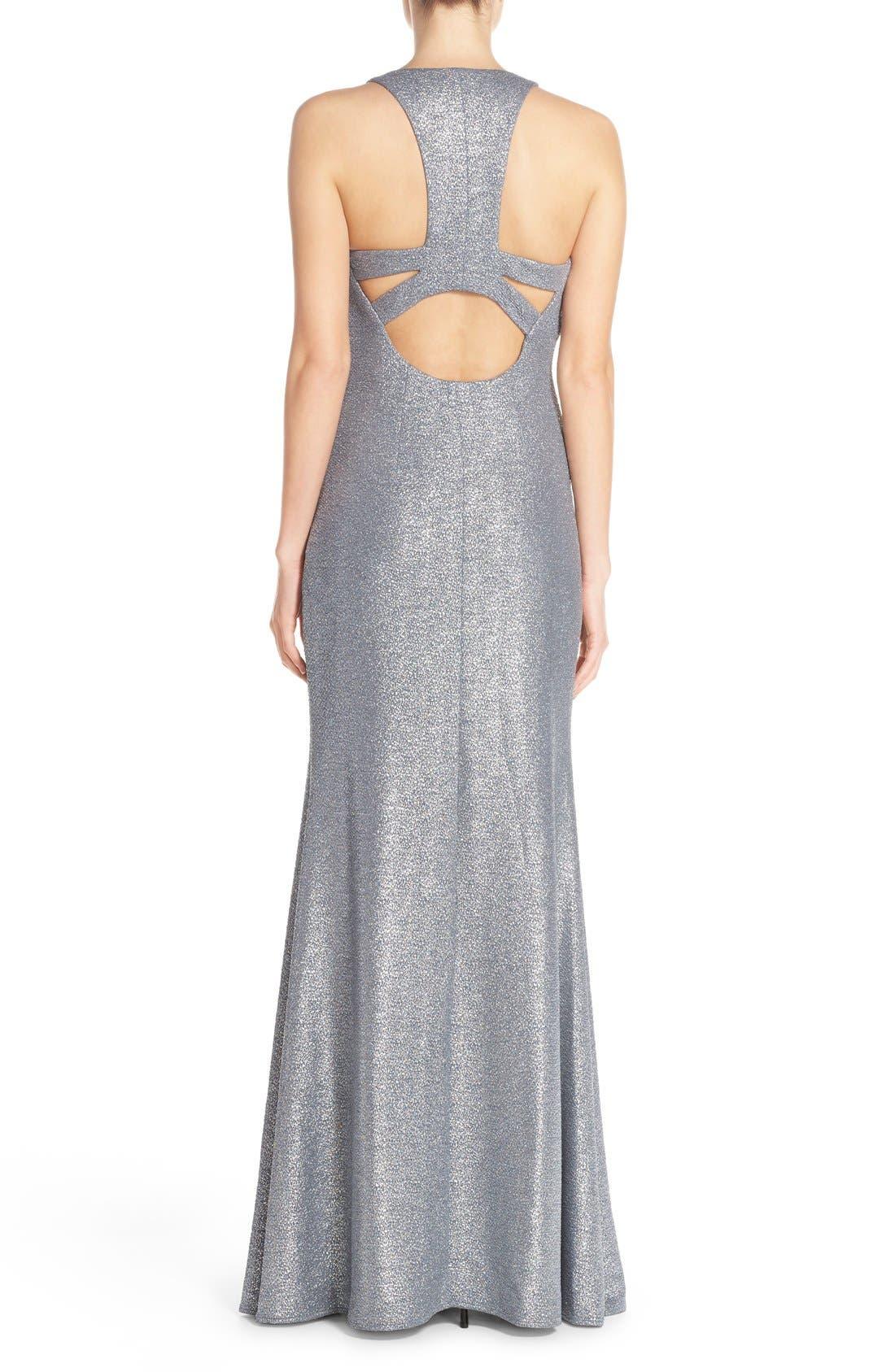 Alternate Image 2  - David Meister Metallic Stretch Cutout Gown