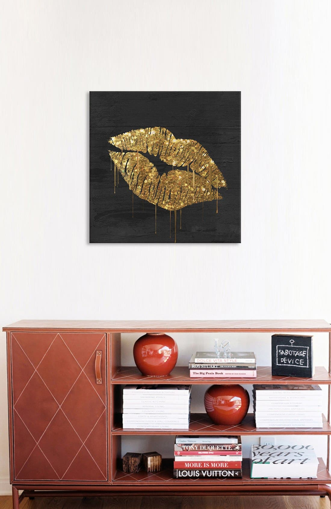 'Golden Lips' Giclée Print Canvas Art,                             Alternate thumbnail 2, color,                             Black
